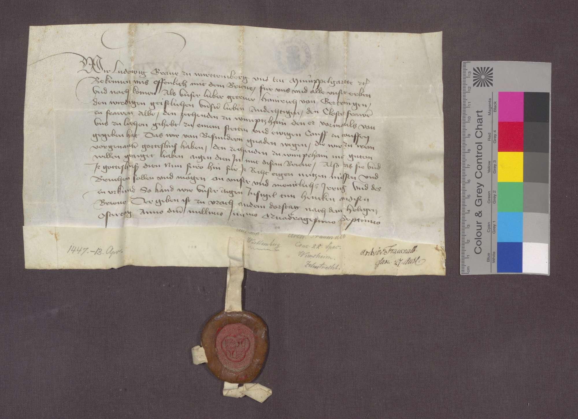 Graf Ulrich von Württemberg erteilt seinen Konsens zum Verkauf des bisher von Württemberg lehnbaren Zehnten zu Wimsheim an das Kloster Frauenalb und erklärt diesen zu freiem Eigentum., Bild 1