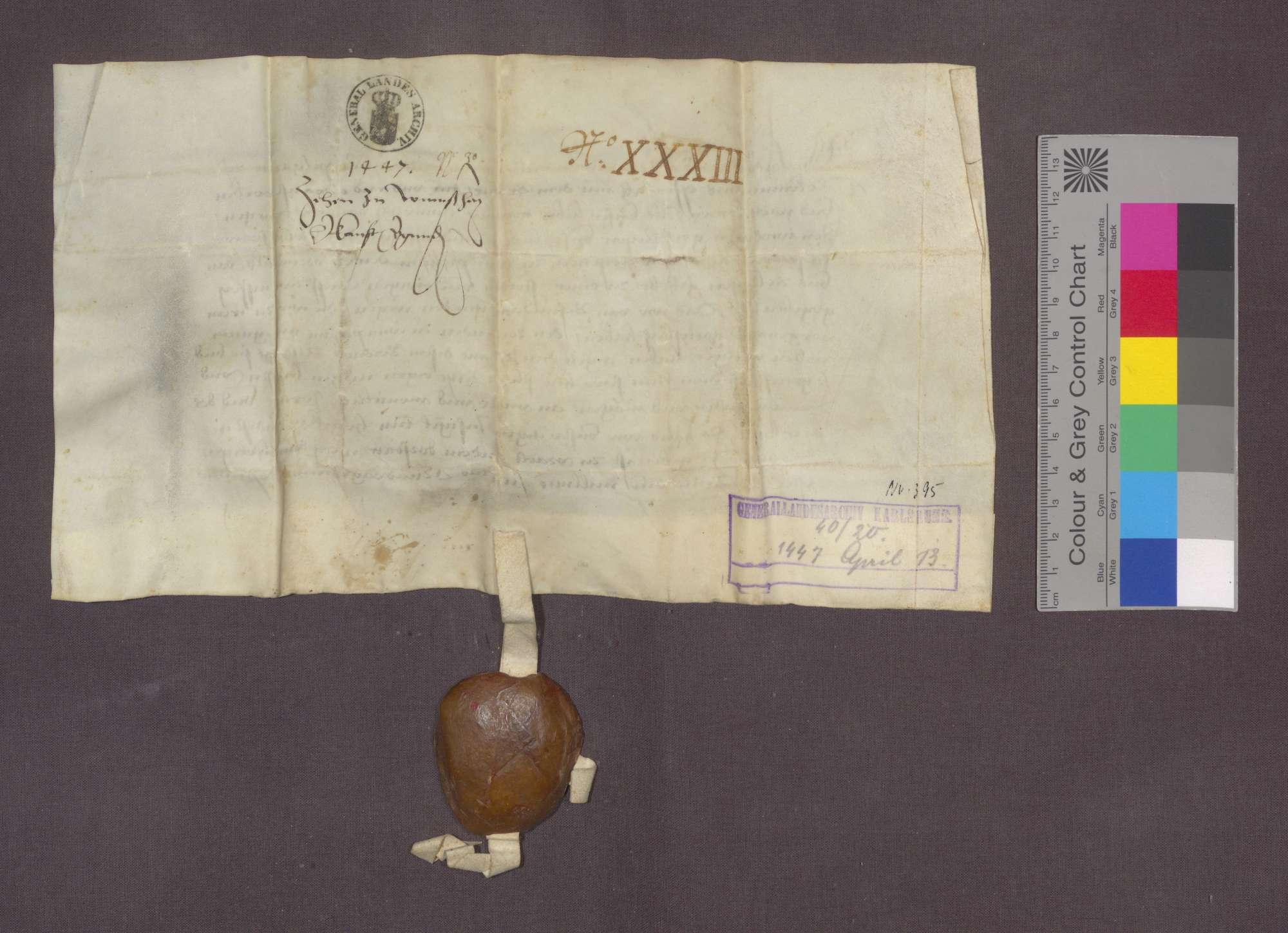 Graf Ulrich von Württemberg erteilt seinen Konsens zum Verkauf des bisher von Württemberg lehnbaren Zehnten zu Wimsheim an das Kloster Frauenalb und erklärt diesen zu freiem Eigentum., Bild 2