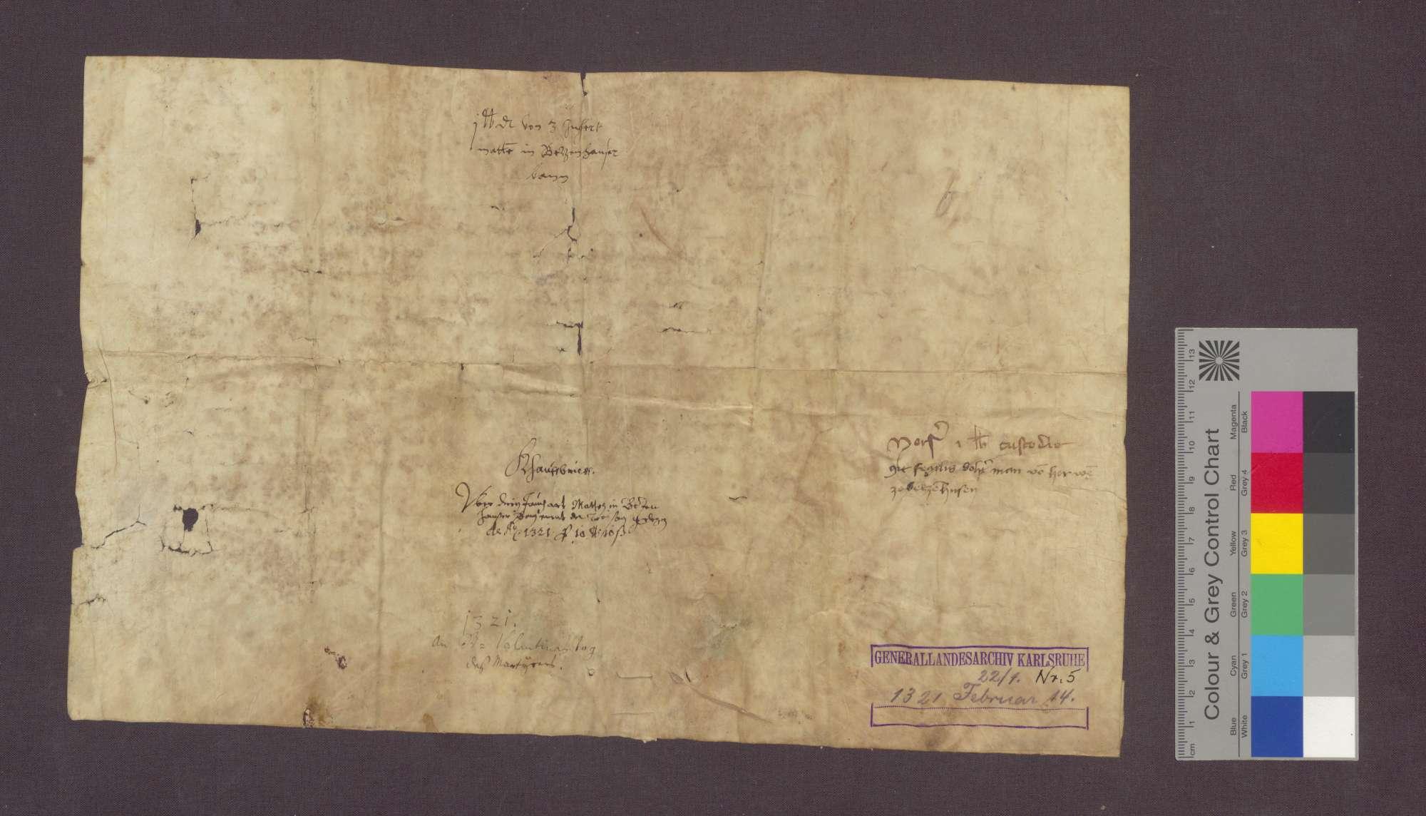 Heinrich der Löffeler von Freiburg verkauft dem Johann Werre gen. der Stecher, Bürger zu Freiburg, eine jährliche Gült von 1 Pfund Pfennigen Freiburger Währung von 3 Juchert Matten in Betzenhauser Bann um 18 Pfund 10 Schilling Pfennige., Bild 2