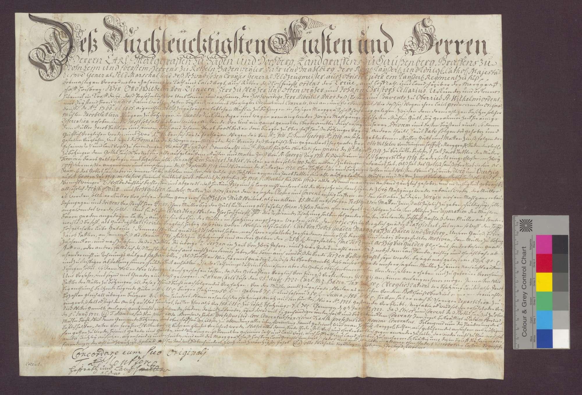 Das Kloster Oberried vergleicht sich mit Jakob Sattler, seinem Müller auf der Bötzinger Mühle, dahingehend, dass 1) die von 1711-1719 auf 100 Taler angewachsenen Gültrückstände mit 42 Saum Oberschaffhauser und Bötzinger Rot- und Weißwein abgetragen werden; 2) werden die Abgaben von zwei bzw. drei Mahlgängen festgelegt; 3) zur Reparatur letzterer erhält der Müller jährlich einen Dielenbaum; 4) der Steuernachlass wird vom Oberamt erneuert., Bild 1