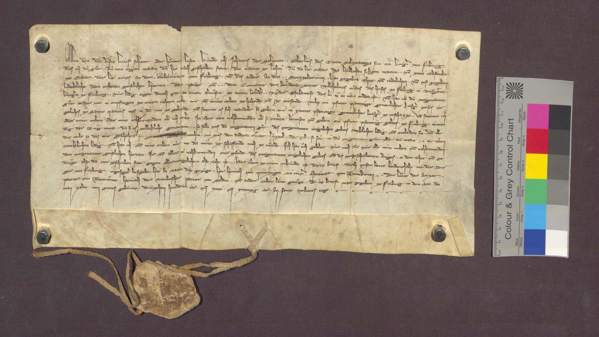 Johann der Salzman, Bürger zu Freiburg, schenkt den Wilhelmiten zu Freiburg zu einem Almosen für seinen dem Kloster angehörigen Bruder eine Matte zu Lehen und 2 Rebstücke zu Eichstetten, indem er sich und seinen Nachkommen dieselben gegen 1 Pfund Pfennige Zins zu Erblehen übertragen lässt., Bild 1