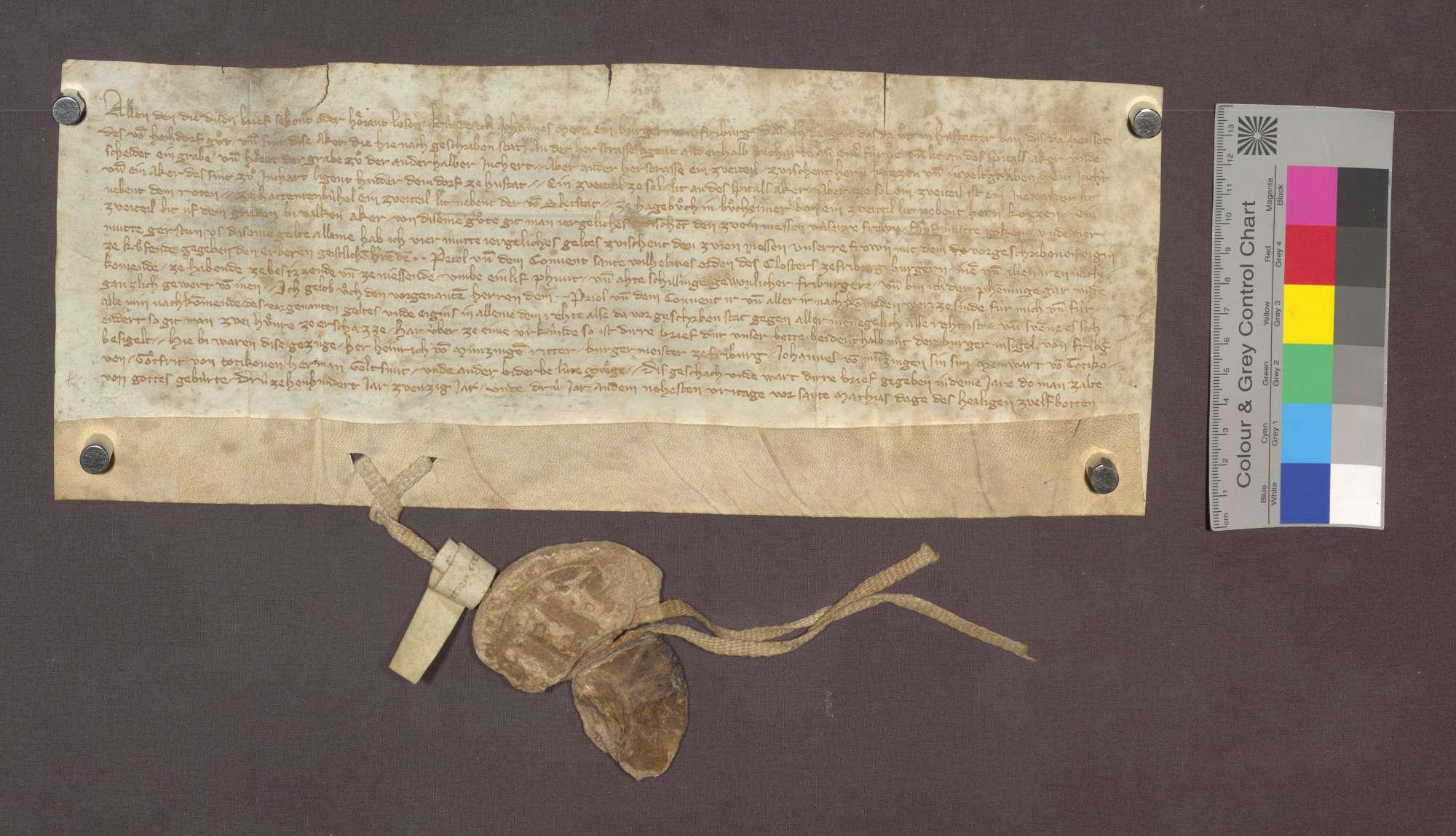 Johannes Meini, Bürger von Freiburg, verkauft dem Kloster Oberried daselbst von dem im Hugstetter Bann gelegenen Gut, des von Hochdorf Gut genannt, 4 Mutt Gerste Gült um 11 Pfund 8 Schilling Pfennige., Bild 1