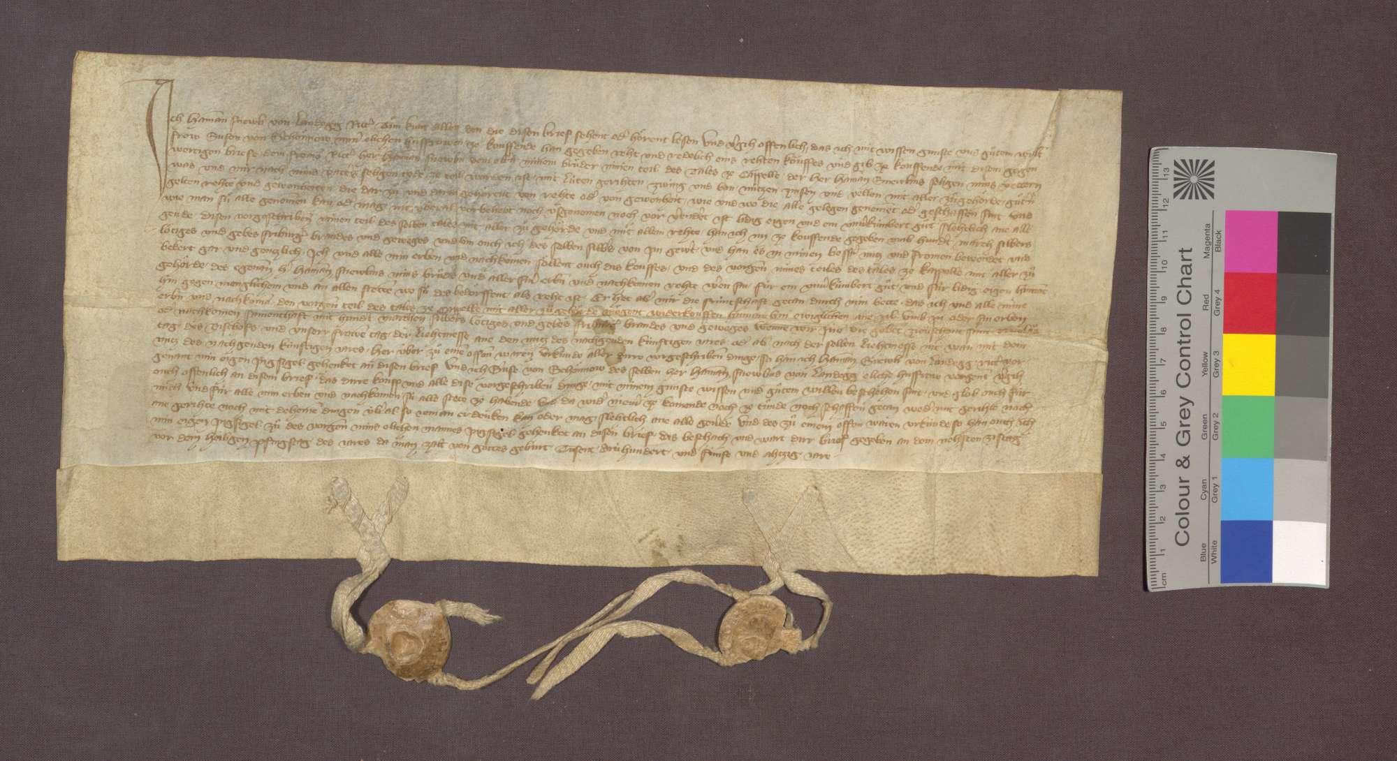 Hamann Schnewli von Landeck verkauft seinem älteren Bruder Hamann den von seinem Vater ererbten Teil des Kappeler Tals mit allen Nutzungen und Rechten um 100 Mark Silber., Bild 1
