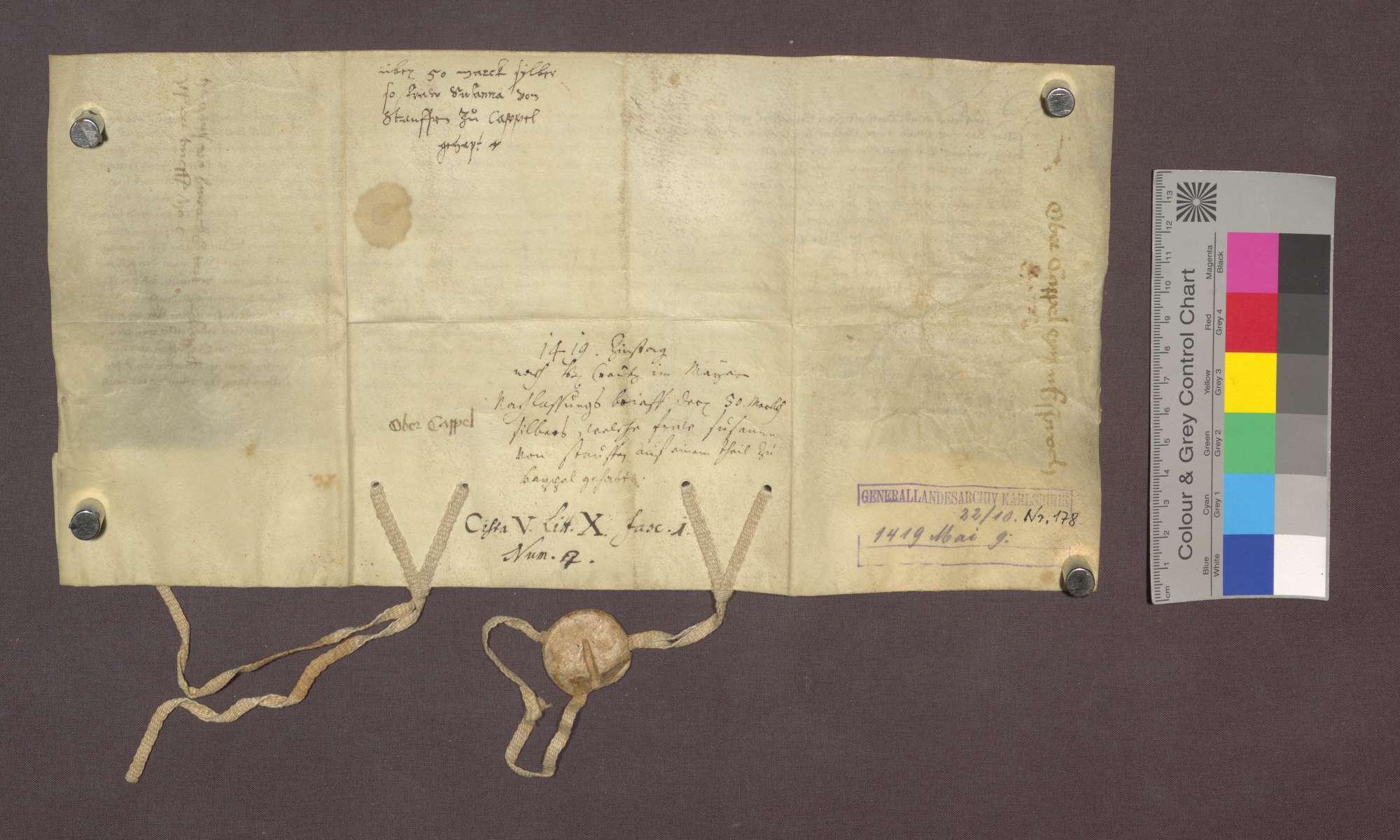 Hans und Berthold von Staufen, Gebrüder, verzichten infolge eines von Markgraf Bernhard von Baden vermittelten Übertrags zugunsten des Ritters Hanman Schnewlin von Landeck auf eine ihnen zustehende und auf den Schnwelin