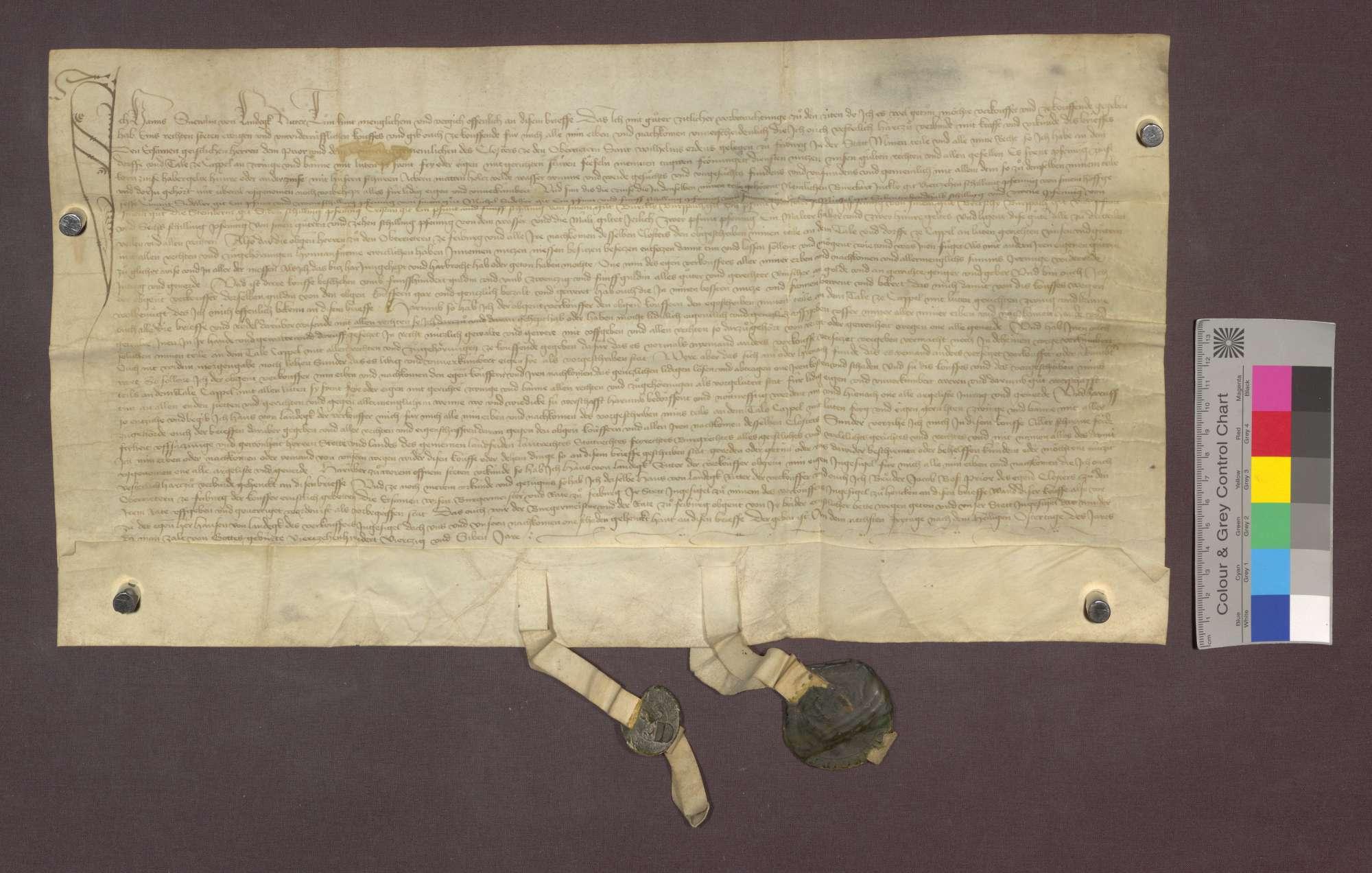 Hans Schnewlin von Landeck verkauft den Oberriedern zu Freiburg seinen Teil am Dorf und Tal Kappel mit genannten Rechten, Gülten, Zinsen, Zwing und Bann um 585 Gulden., Bild 1