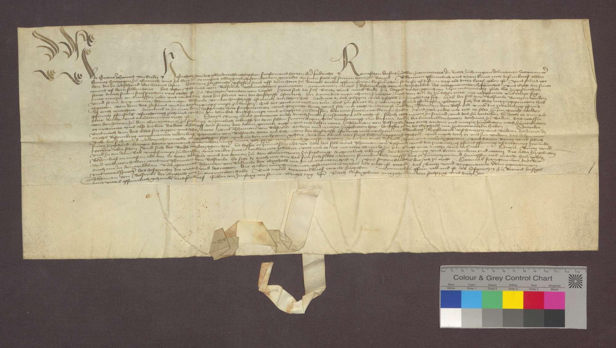 Das Hofgericht zu Rottweil unter dem Vorsitz des Grafen Johann von Sülz entscheidet in der Klagsache des Thomas von Bollschweil gegen Bentz Vend wegen der von Thomas von Bollschweil geforderten Abstellung eines von Vend eröffneten Bades in Kappel zu Recht, dass Vend sich der Klage halber nicht zu antworten habe., Bild 1
