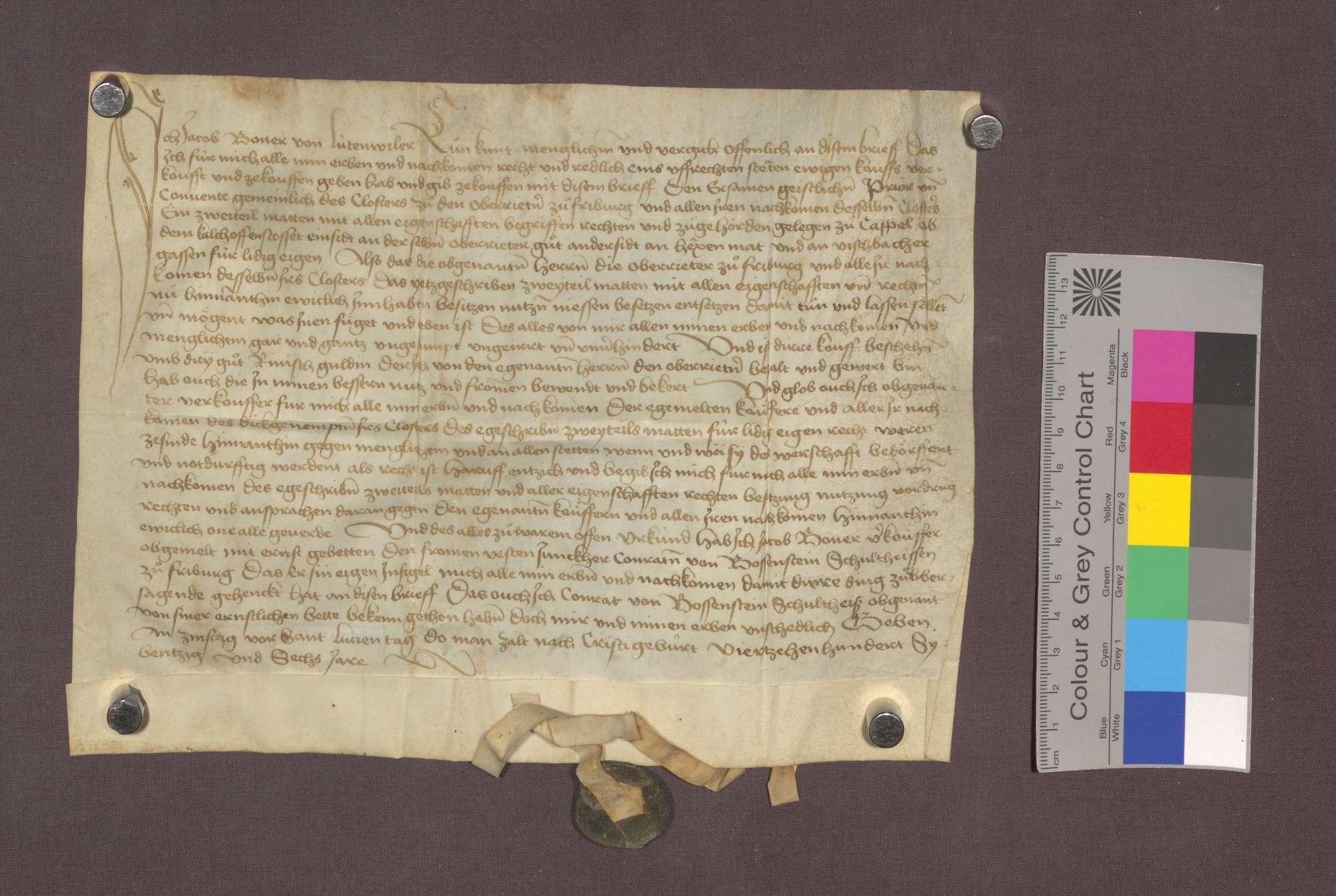 Jakob Boner von Littenweiler verkauft dem Kloster Oberried zu Freiburg ein Zweitel Matten mit allen Zugehörungen, im Kappeler Tal ob dem Kalkofen bei dem anderen Gut der Oberrieder, um 3 Gulden., Bild 1
