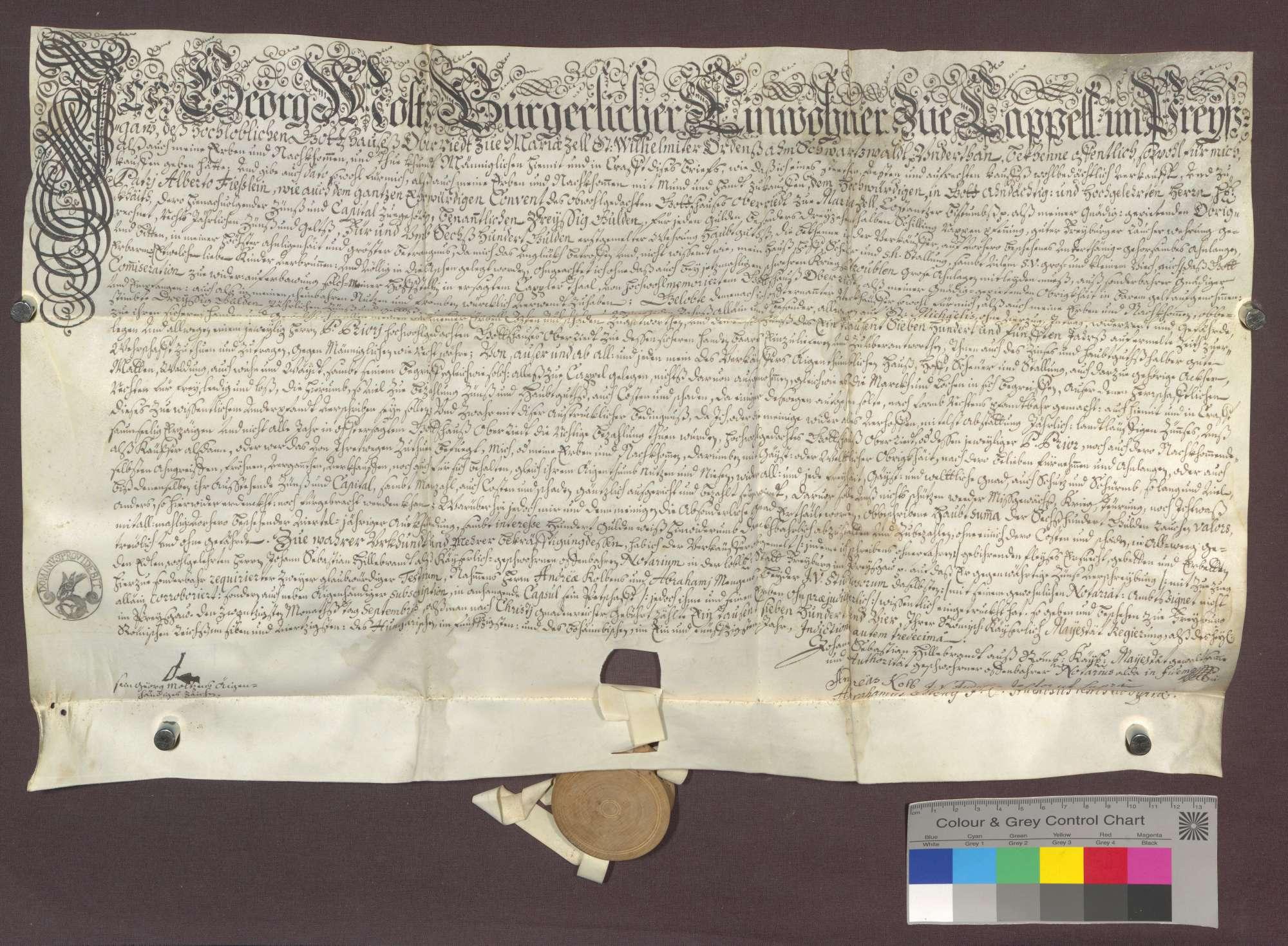 Georg Moltz, Einwohner zu Kappel und Untertan des Klosters Oberried, nimmt bei letzterem eine Hypothek von 600 Gulden zu 5 Prozent auf, da ihm Haus, Hof und Kinder verbrannt sind., Bild 1