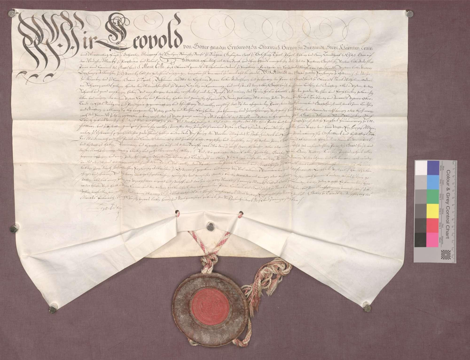Erzherzog Leopold von Österreich bestätigt die Privilegien des Klosters Oberried zu Freiburg., Bild 1