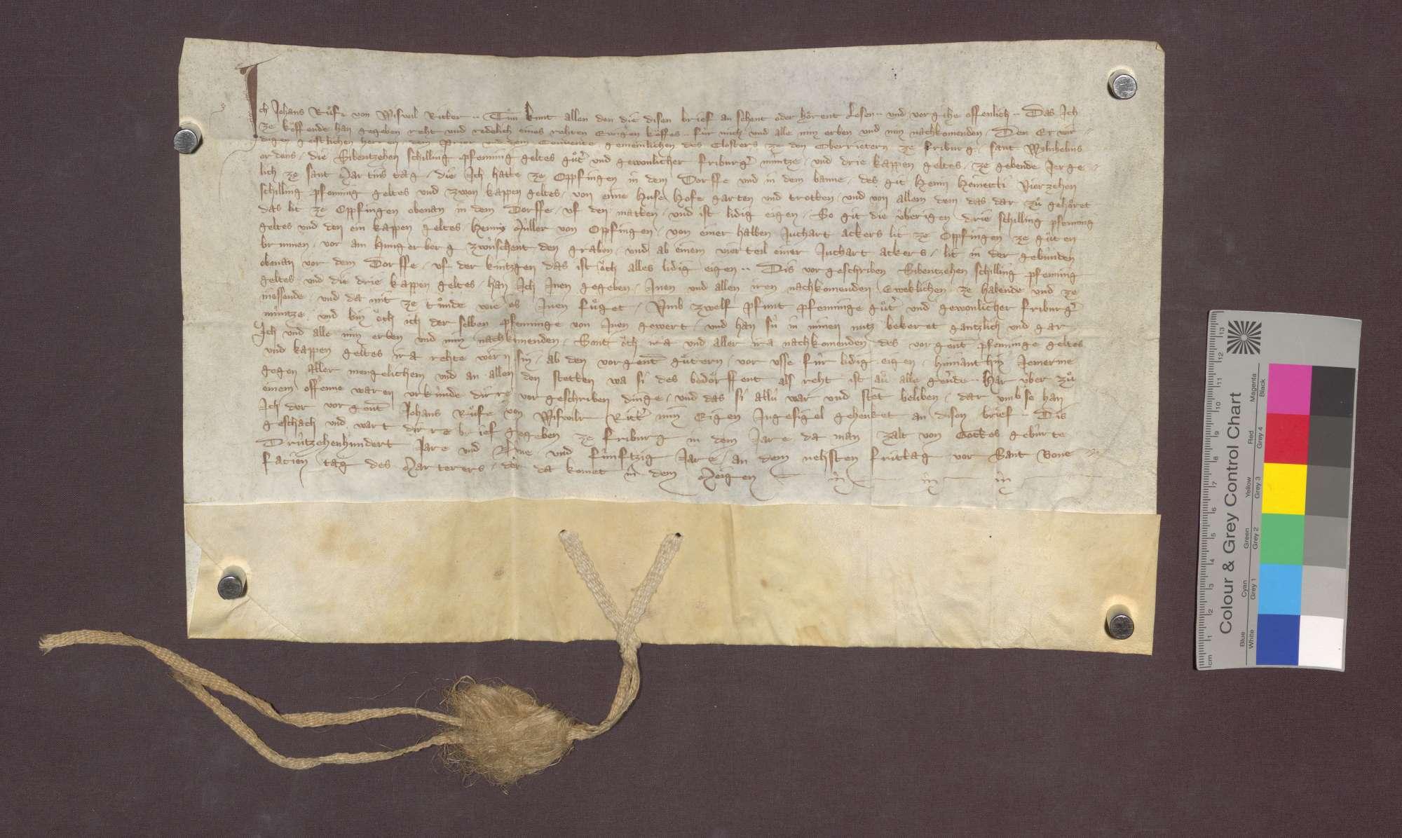 Johann Rife von Weisweil, Ritter, verkauft den Oberriedern zu Freiburg, eine jährliche Gült von 17 Schilling Pfennigen und 3 Rappen von genannten Gütern im Dorf Opfingen um 12 Pfund Pfennige., Bild 1