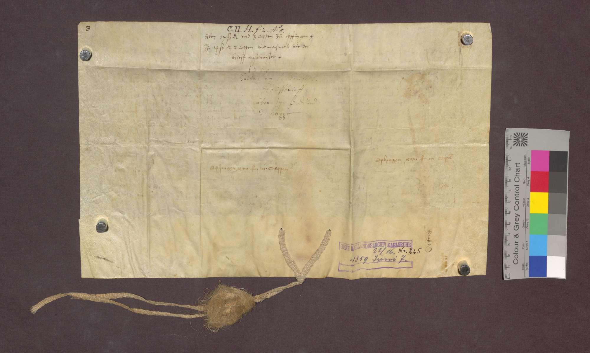 Johann Rife von Weisweil, Ritter, verkauft den Oberriedern zu Freiburg, eine jährliche Gült von 17 Schilling Pfennigen und 3 Rappen von genannten Gütern im Dorf Opfingen um 12 Pfund Pfennige., Bild 2