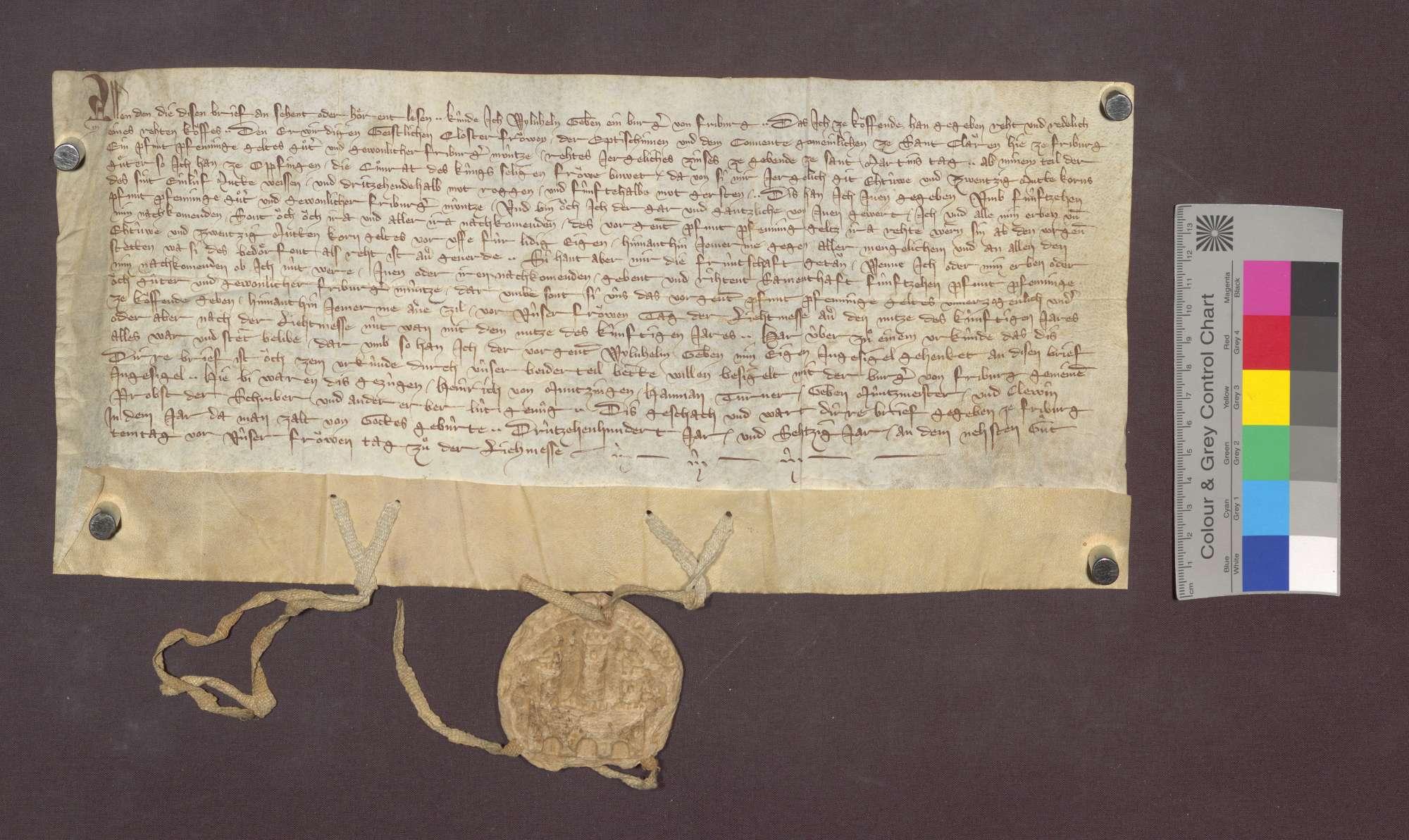 Wilhelm Geben, Bürger zu Freiburg, verkauft den Clarissen daselbst einen jährlichen Zins von 1 Pfund Pfennigen von seinen Gütern zu Opfingen um 15 Pfund Pfennige., Bild 1