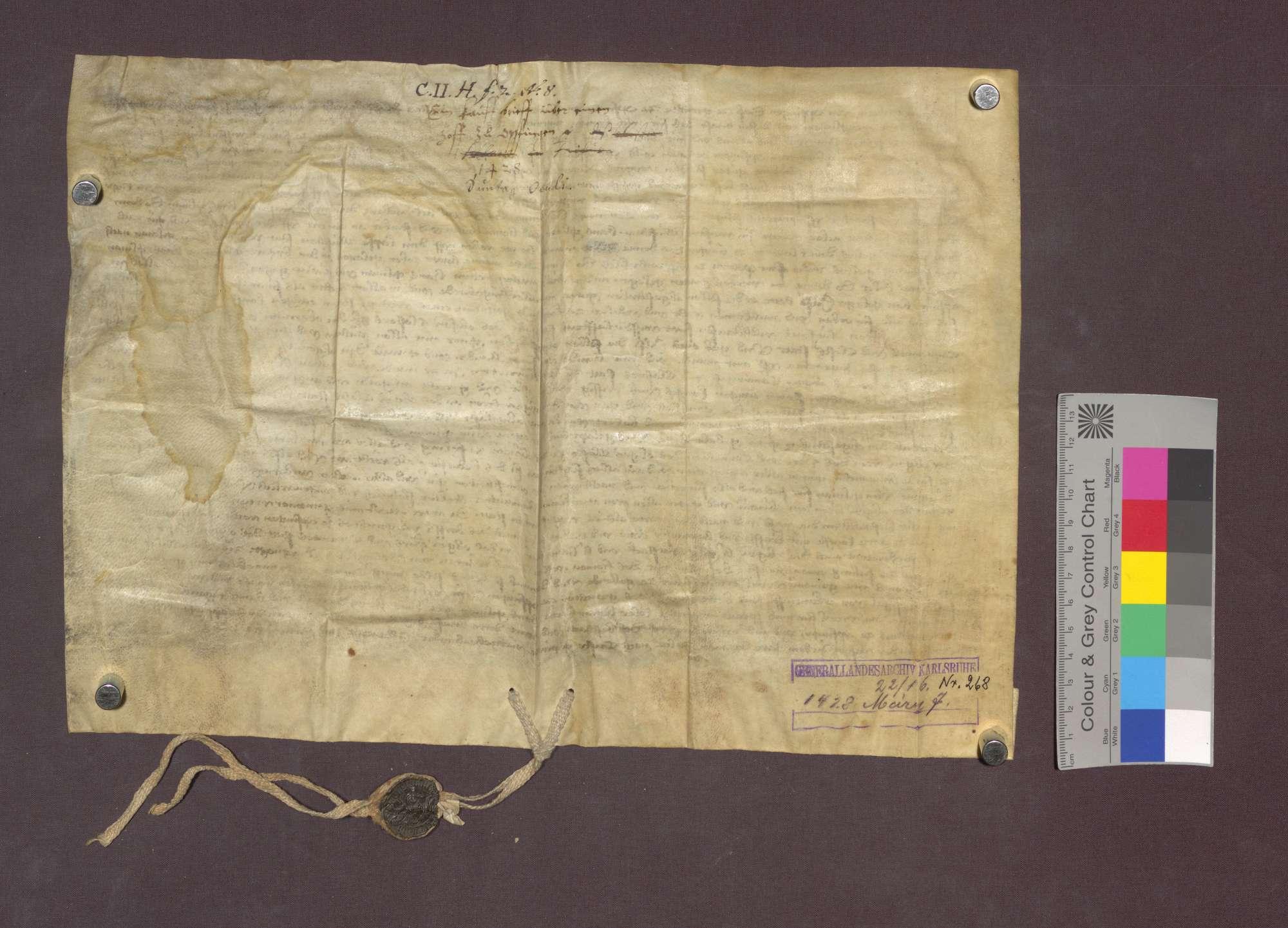 Ulin Gilmann von Opfingen verkauft vor dem Gericht zu Opfingen dem Kloster Oberried zu Freiburg verschiedene Güter zu Opfingen um 30 Gulden., Bild 2