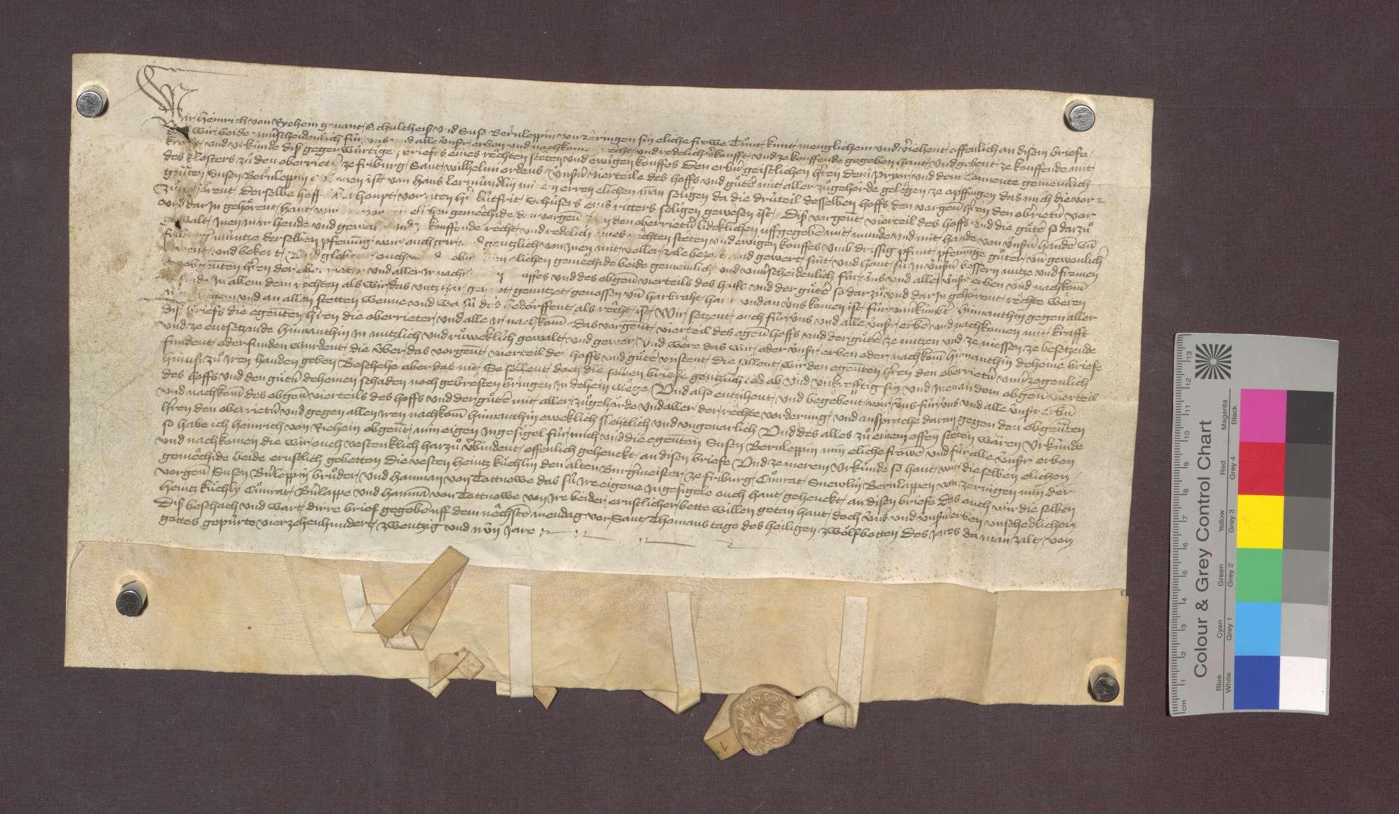 Heinrich von Richein gen. Schultheiß und seine Ehefrau Suse Bernlapp von Zähringen verkaufen dem Kloster Oberried zu Freiburg das Viertel eines Hofes zu Opfingen um 30 Pfund Pfennig., Bild 1