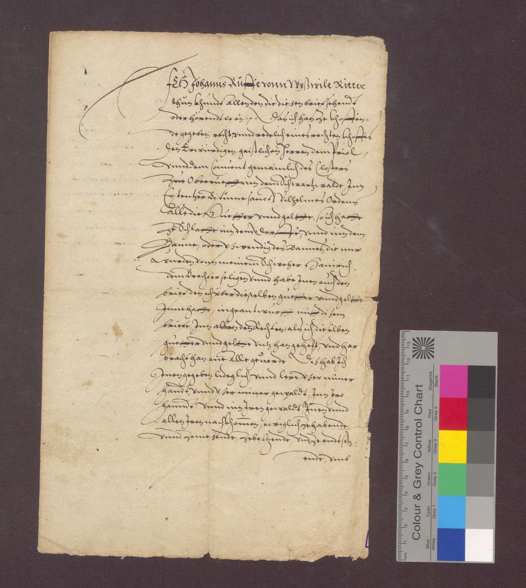 Johann Ruse von Weisweil verkauft dem Kloster Oberried im Schwarzwald seine Güter zu Schlatt in- und außerhalb des Bannes samt allen Gülten um 72 Mark Silber., Bild 1