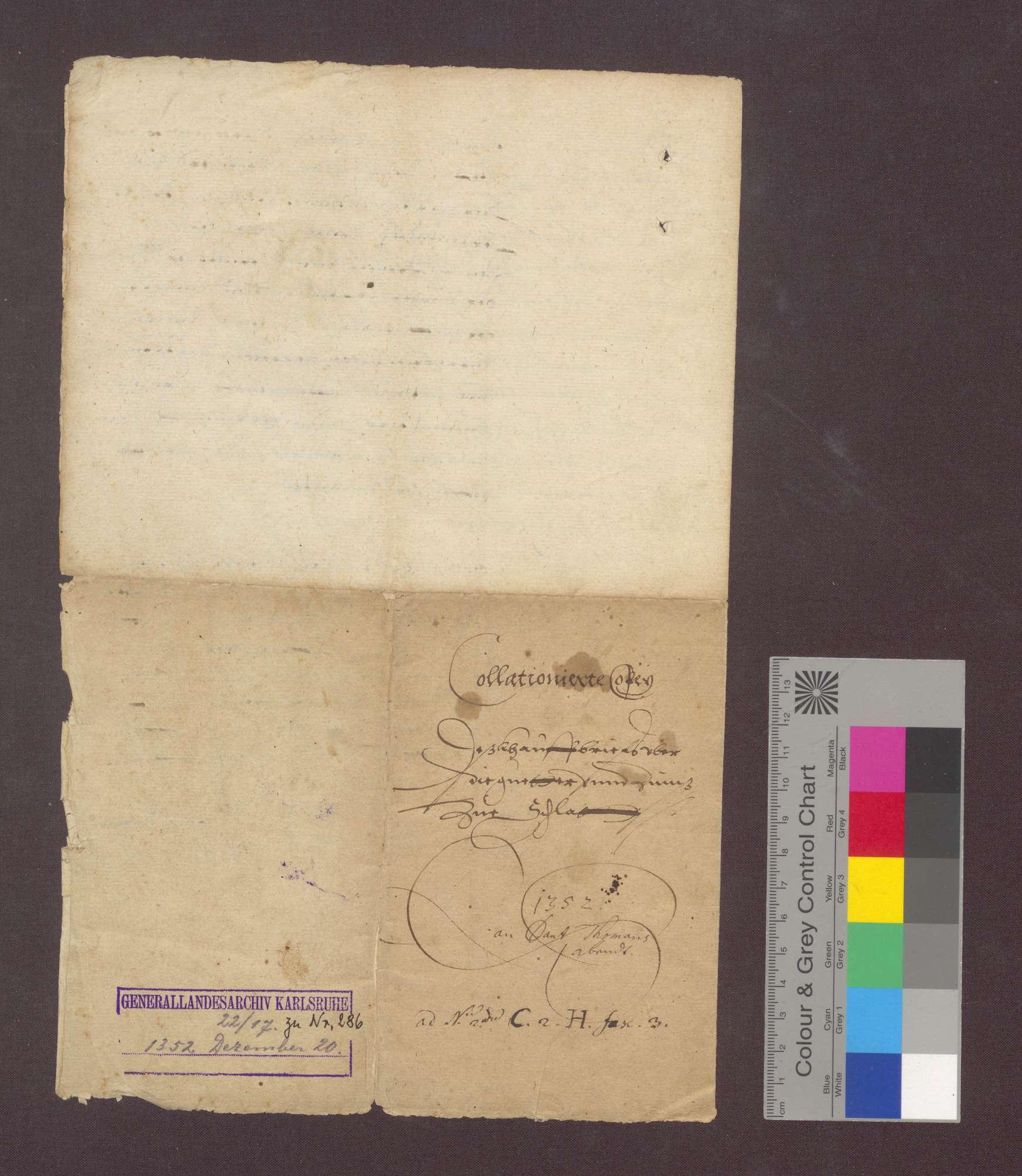 Johann Ruse von Weisweil verkauft dem Kloster Oberried im Schwarzwald seine Güter zu Schlatt in- und außerhalb des Bannes samt allen Gülten um 72 Mark Silber., Bild 3