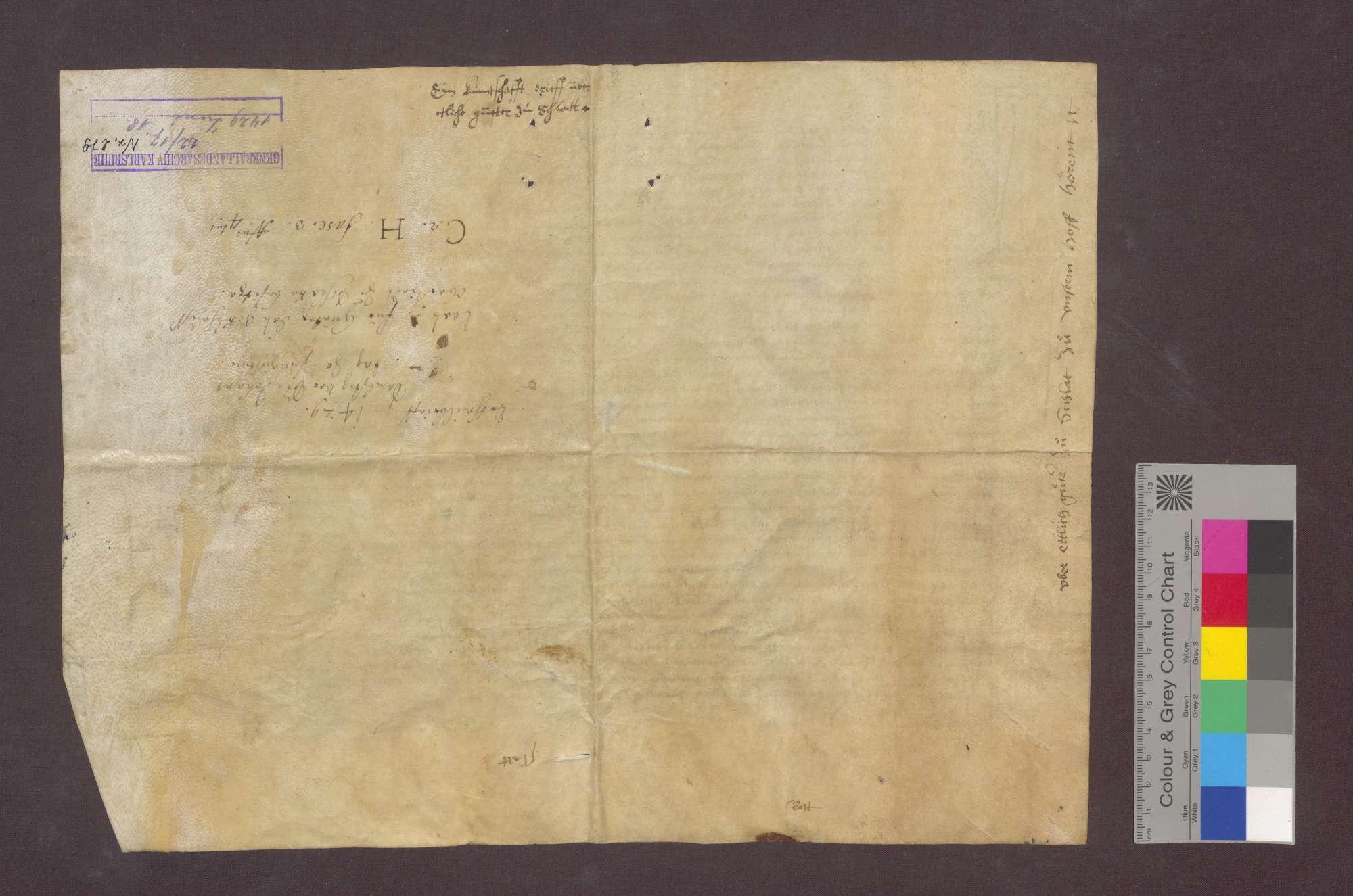 Das Gericht zu Freiburg spricht auf die nach dem Urteilsspruch von 1428 Juni 15 (GLA 22 Nr. 278) eingeholten Kundschaften hin den zwischen Hartmann von Feldkirch und Henni Fuchs einerseits und dem Kloster Oberried im Wald andererseits strittigen Zins von Gütern zu Schlatt dem Kloster zu., Bild 2