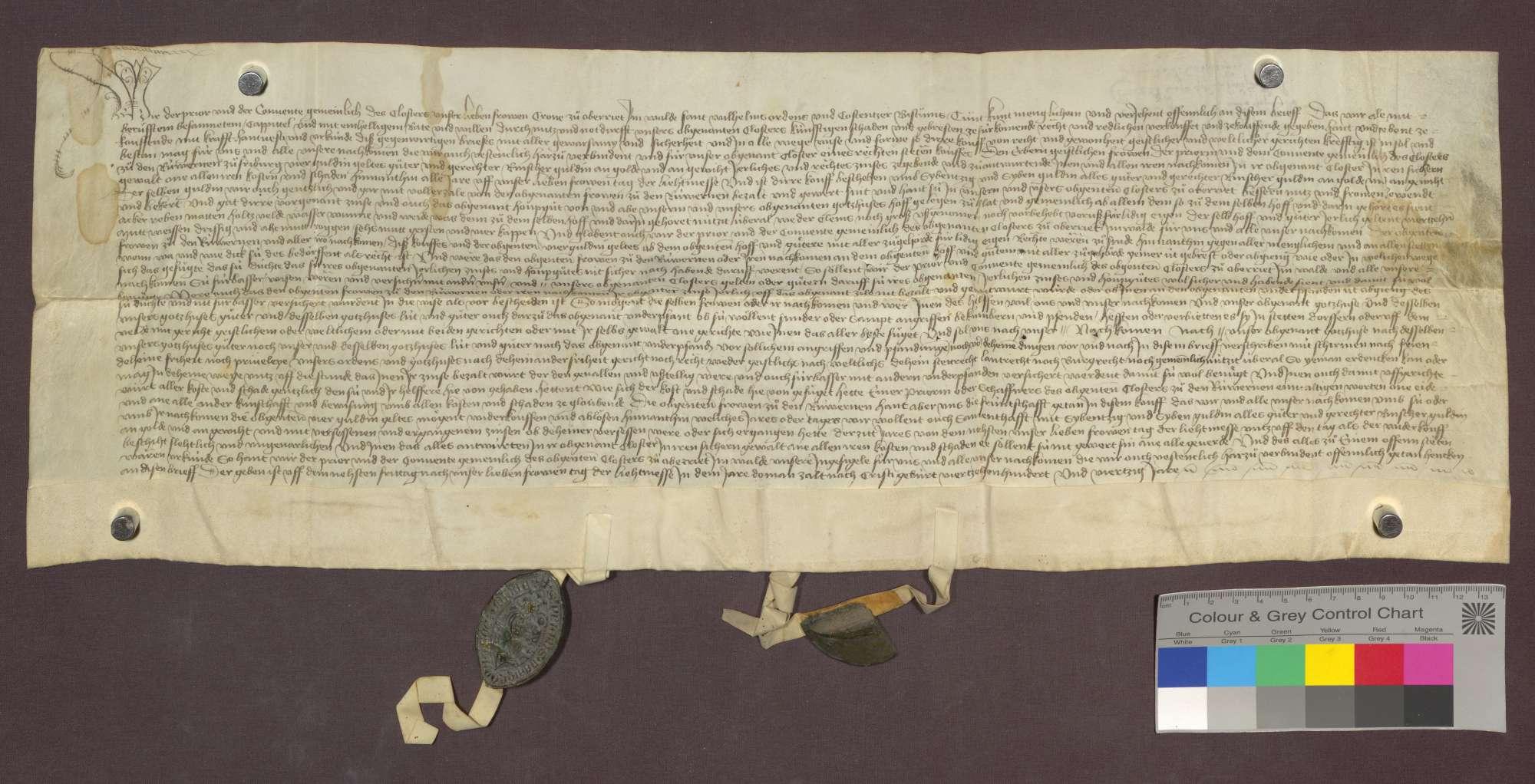 Das Kloster zu Oberried im Wald verkauft dem Kloster der Reuerinnen zu Freiburg einen Zins von 4 Gulden von des Klosters Hof und Gütern zu Schlatt um 77 Gulden., Bild 1
