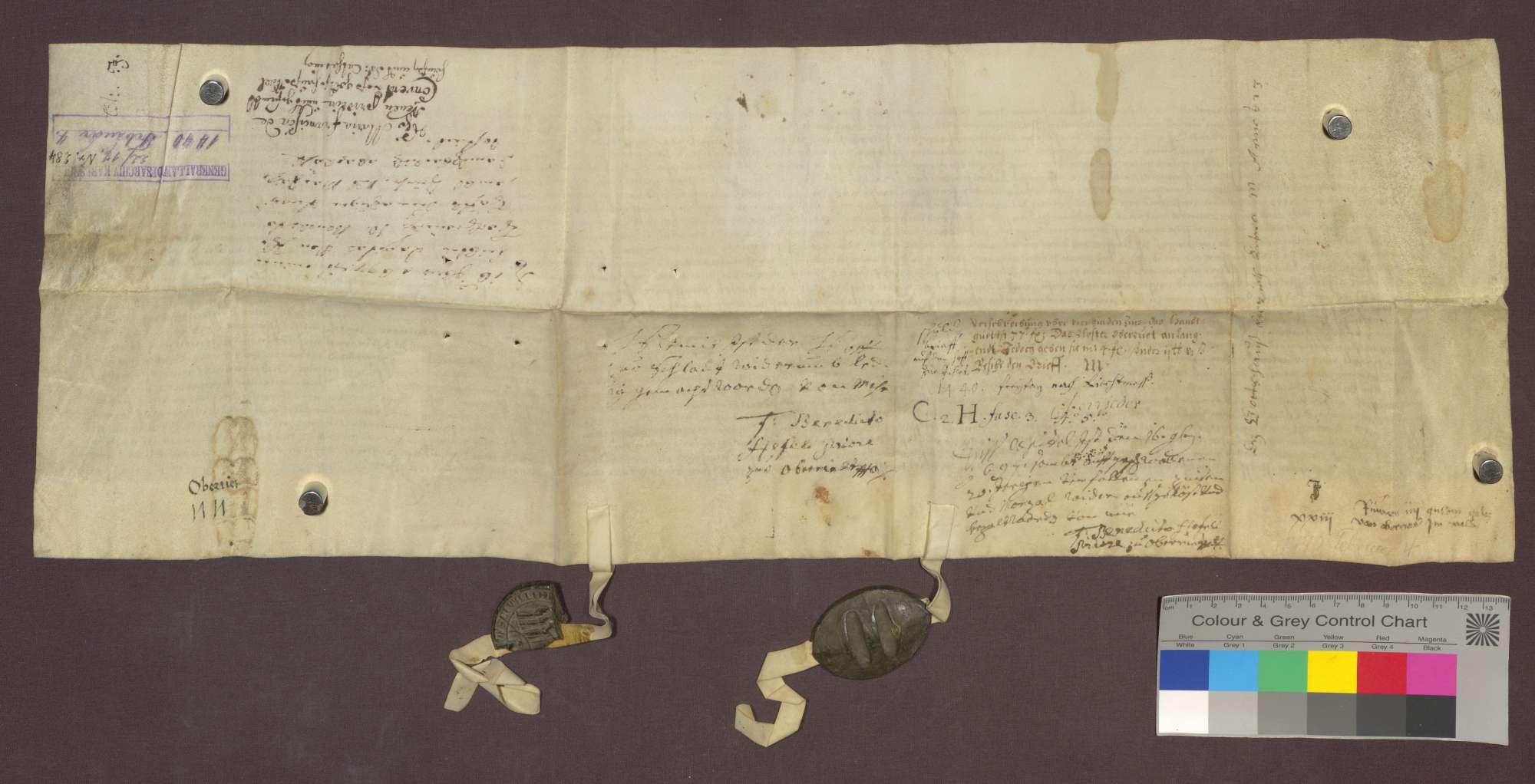 Das Kloster zu Oberried im Wald verkauft dem Kloster der Reuerinnen zu Freiburg einen Zins von 4 Gulden von des Klosters Hof und Gütern zu Schlatt um 77 Gulden., Bild 2