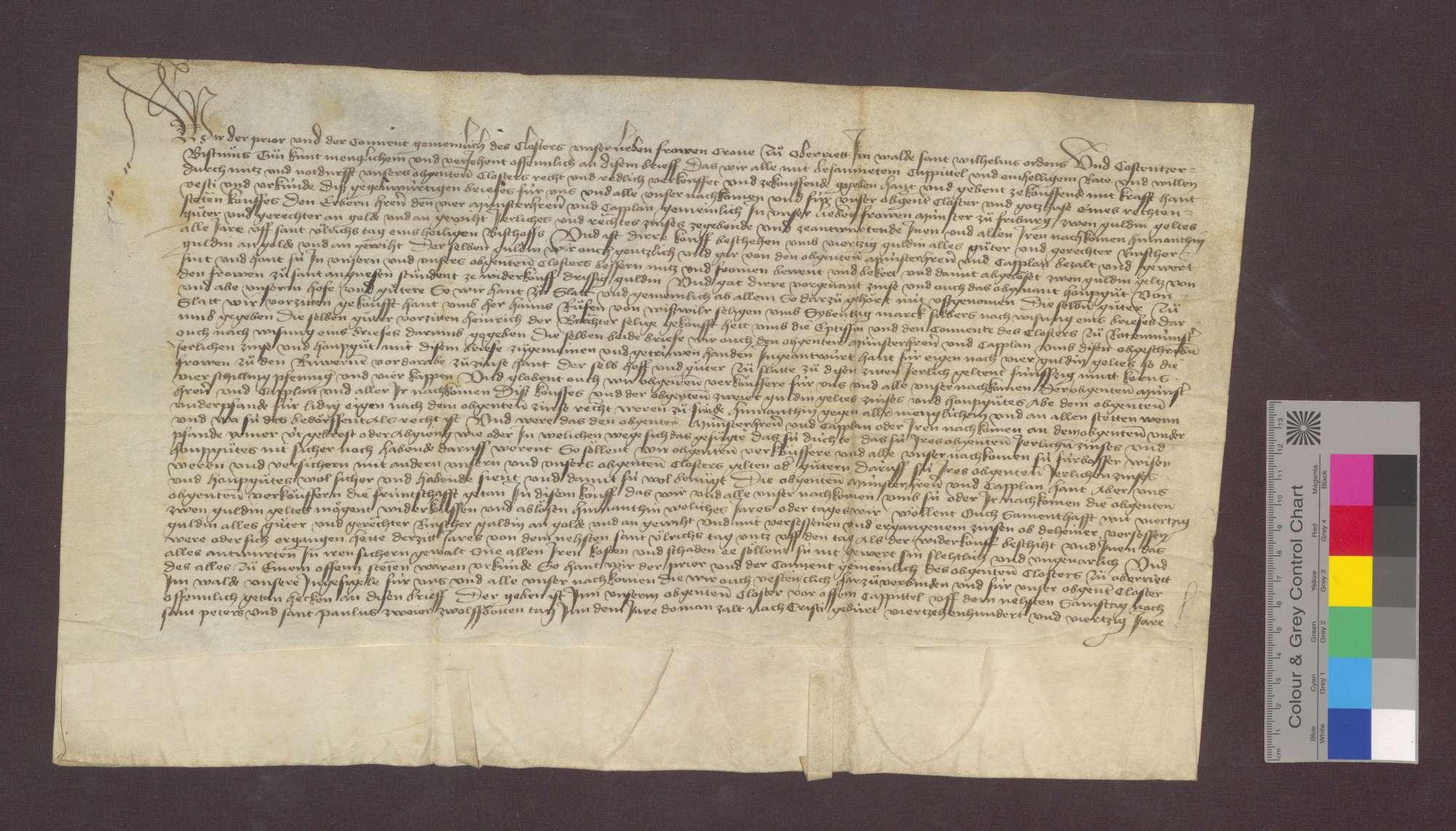 Kloster Oberried im Wald verkauft den vier Münsterherren und Kapellanen zu Freiburg einen jährlichen Zins von 2 Gulden von genannten Gütern zu Schlatt um 40 Gulden., Bild 1