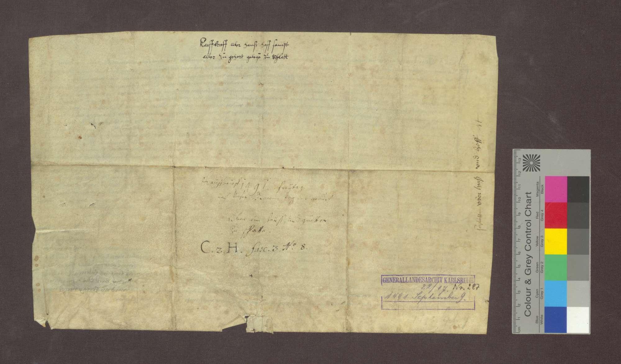 Clewy Brünly zu Schlatt verkauft dem Prior Bartlome Agerle des Gotteshauses Oberried im Wald sein Haus und Hof zu Schlatt im Dorf mit genannten Gütern um 60 Gulden., Bild 2