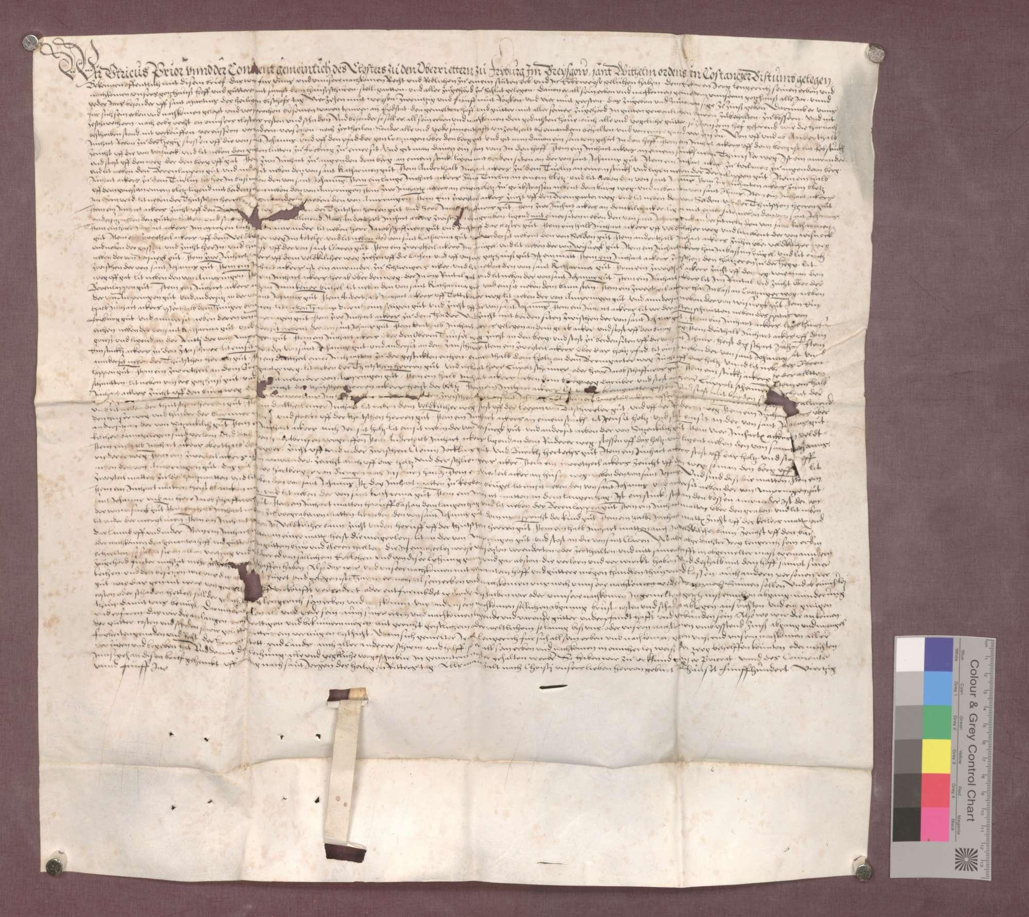 Prior Ulrich und der Konvent der Oberrieder zu Freiburg verleihen dem Jörg Lengerich ihren Hof zu Schlatt mit genannten Gütern um 14 Mutt Weizen, 25 Mutt Roggen- und 4 Mutt Gerste Zins zu Erblehen., Bild 1