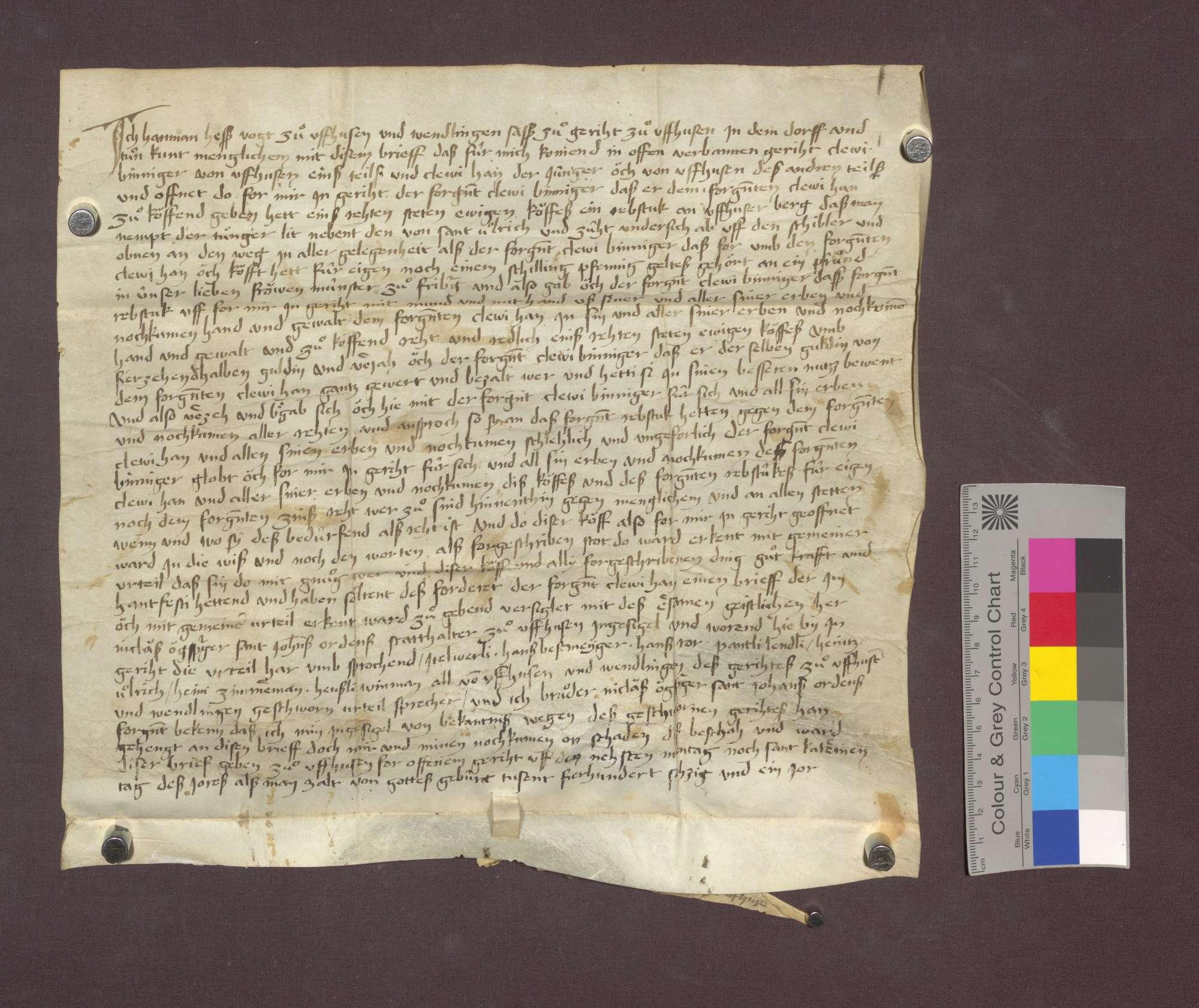 Clevi Binninger von Uffhausen verkauft dem Clevi Hahn von ebenda vor dem Gericht zu Uffhausen ein Rebstück zu Uffhausen, genannt der Junger, um 13 1/2 Gulden., Bild 1