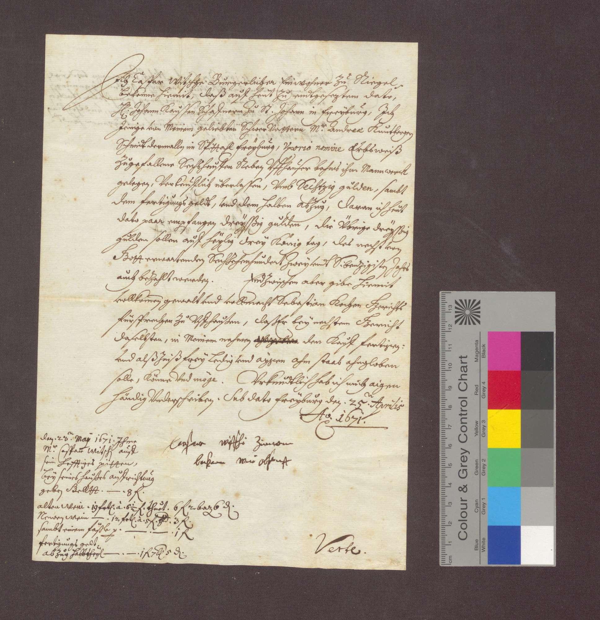 Kaspar Witschi, Zimmermann von Freiburg, verkauft dem Johanniter-Schaffner zu Freiburg, Johann Kauß, 6 Haufen Reben am Uffhauser Berg, die er von seinem Schwiegervater Andreas Kuntberger erhalten hatte, um 60 Gulden., Bild 1