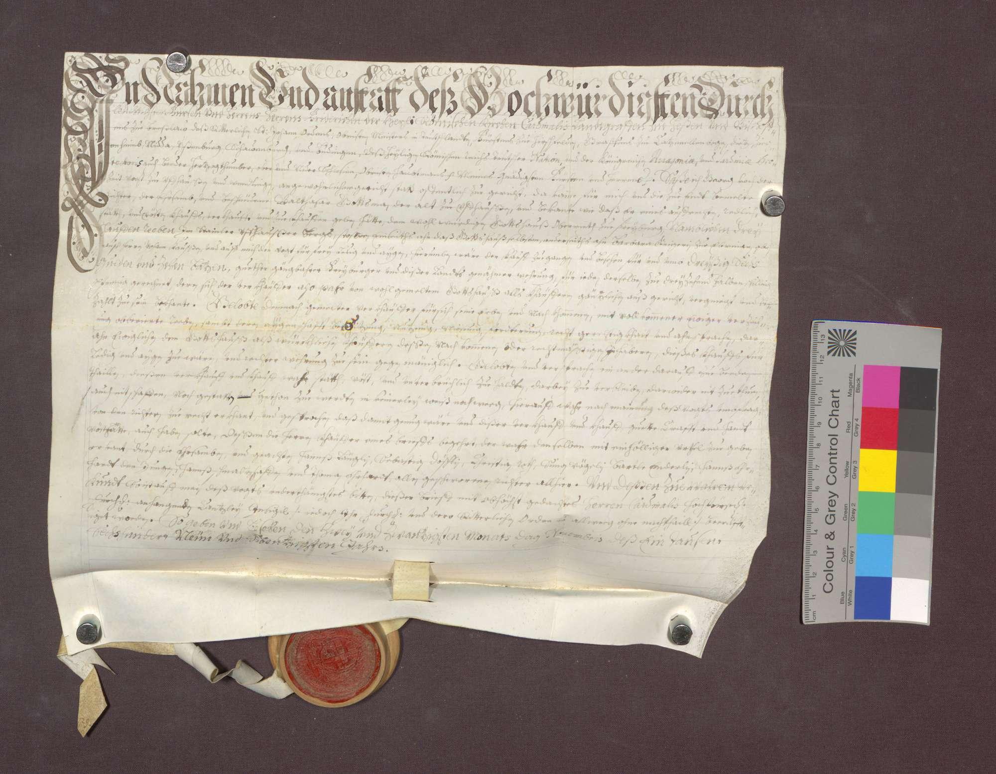Balthasar Gottsmann verkauft den Wilhelmiten zu Freiburg 3 Haufen Reben am Uffhauser Berg um 36 Gulden 10 Batzen., Bild 1