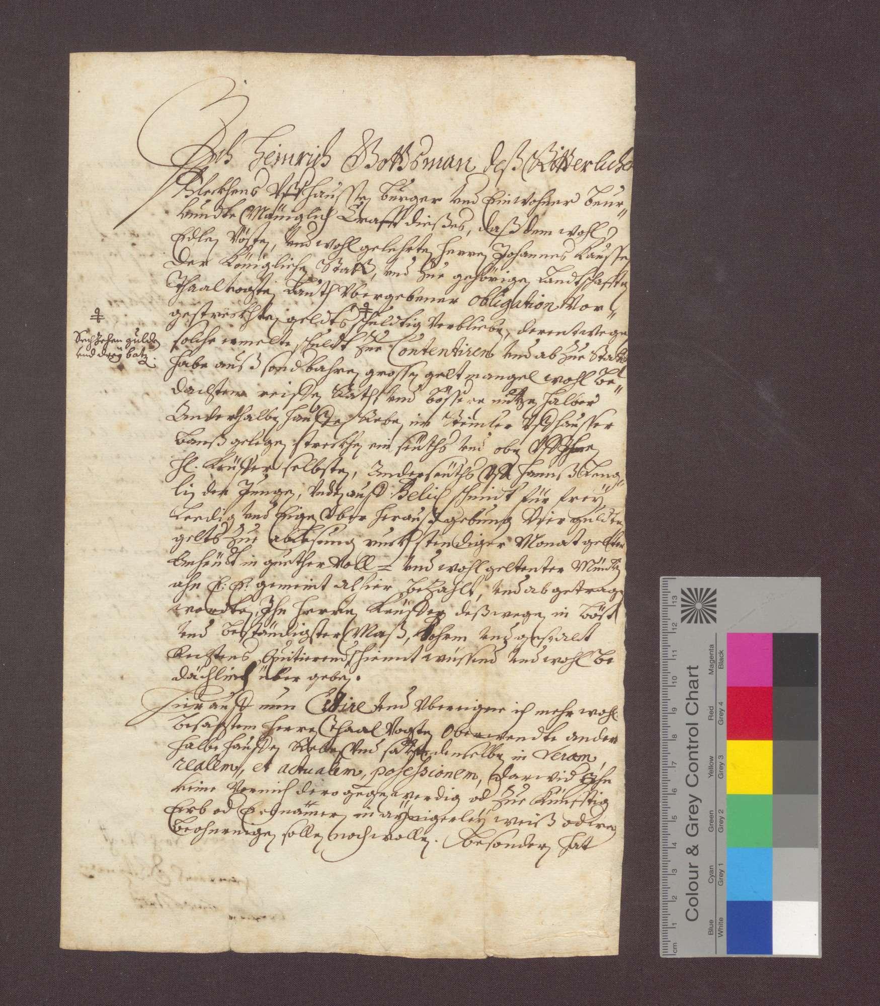 Heinrich Gottsmann, Bürger des ritterlichen Fleckens Uffhausen, cediert dem Johann Kauß 1 1/2 Haufen Weinberg zu Uffhausen, da er die Zinsen für die vorgestreckten 16 Gulden 3 Batzen nicht zu zahlen vermag., Bild 1