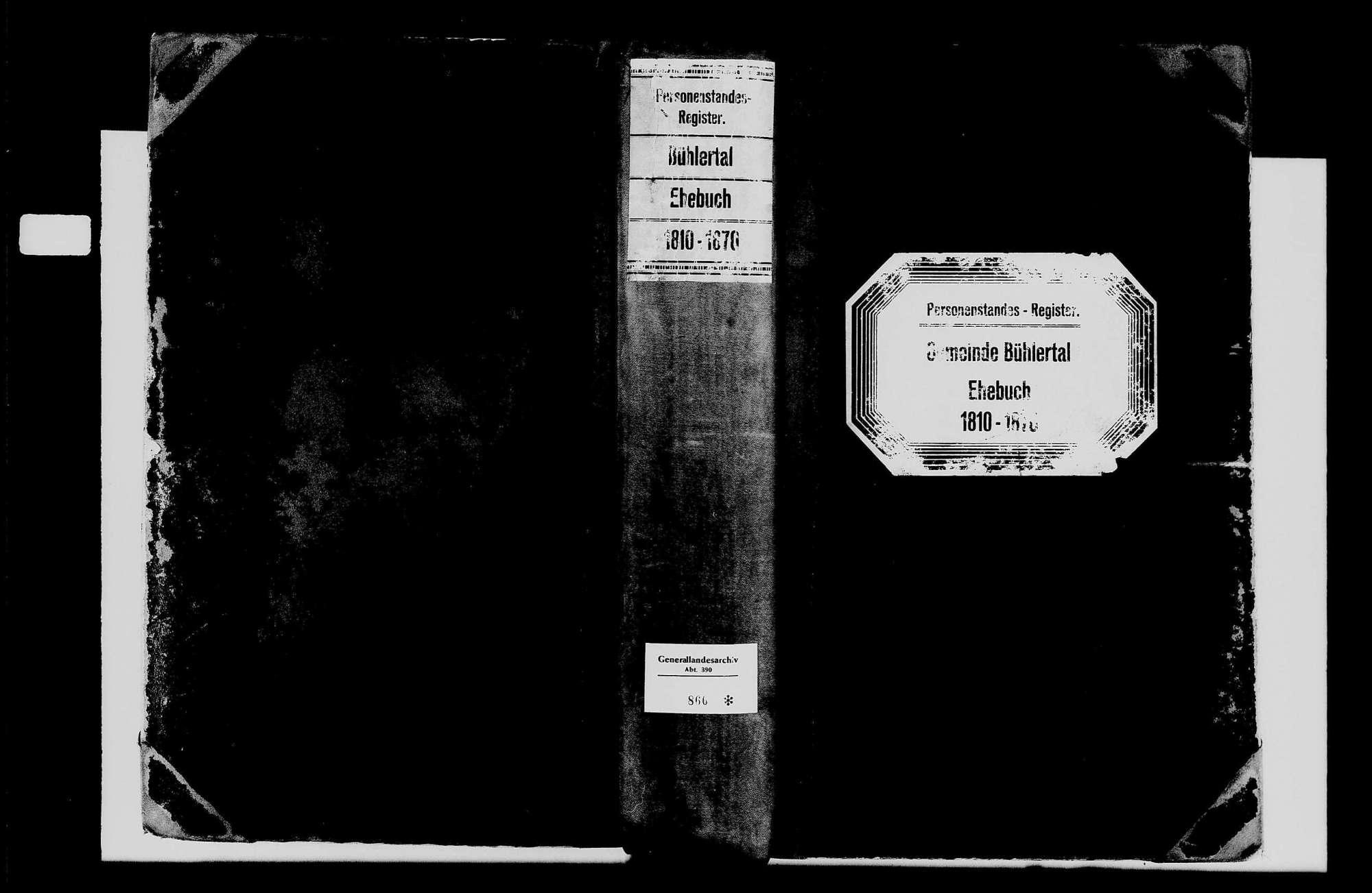 Bühlertal, katholische Gemeinde: Heiratsbuch 1810-1870, Bild 1
