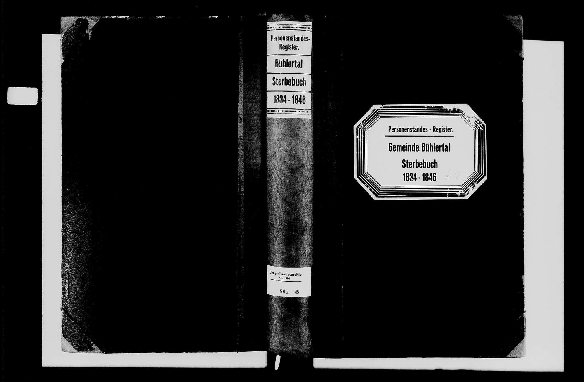 Bühlertal, katholische Gemeinde: Sterbebuch 1834-1846, Bild 1