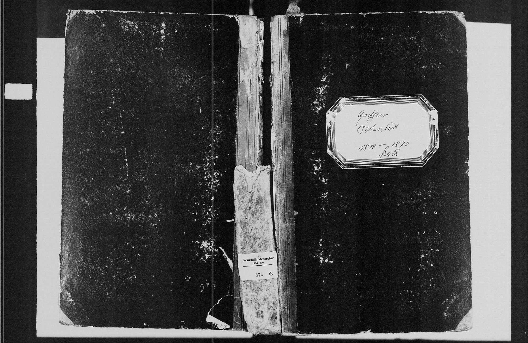 Greffern, katholische Gemeinde: Sterbebuch 1810-1870, Bild 1