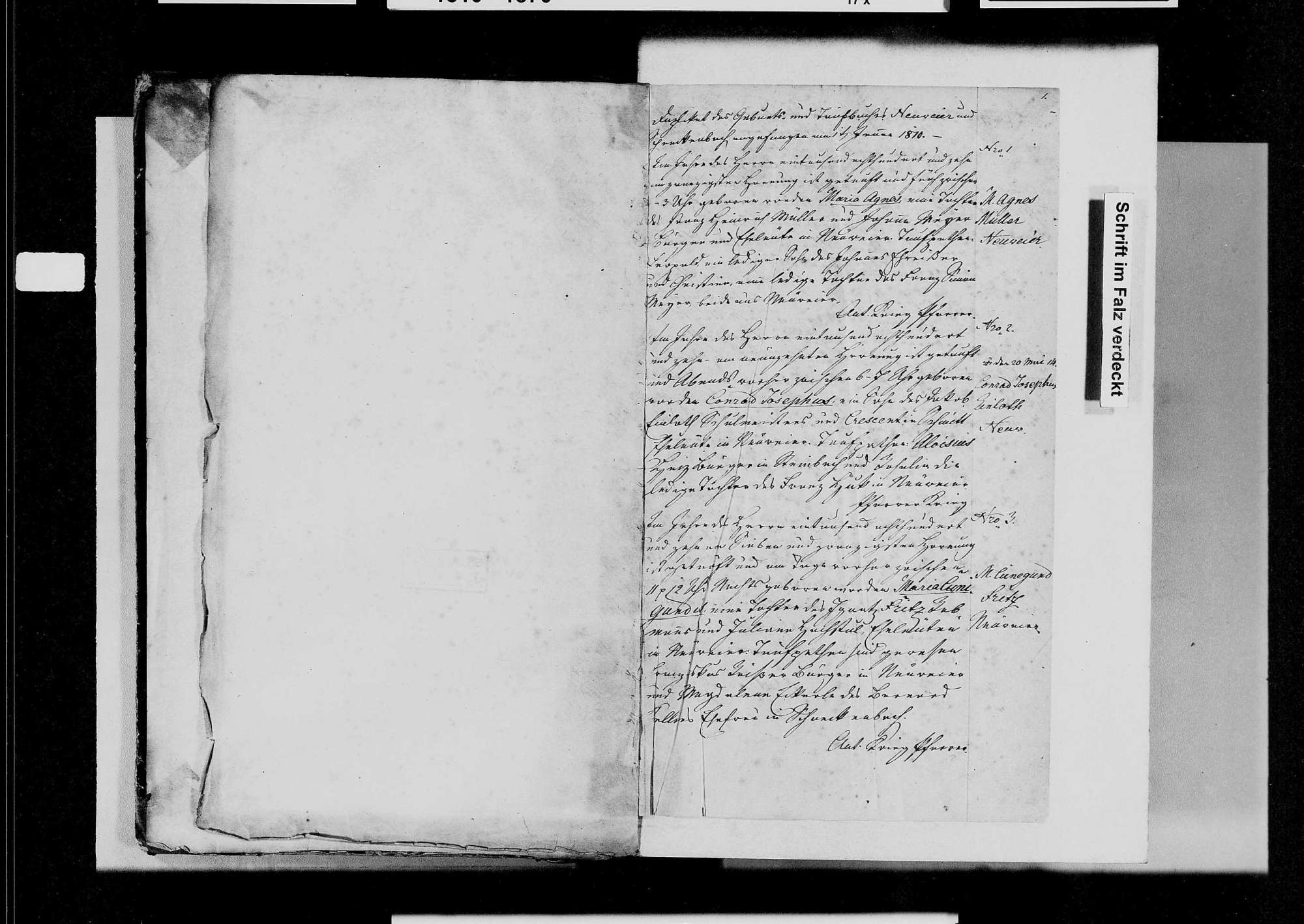 Neuweier, katholische Gemeinde: Geburtenbuch 1810-1841, Bild 3