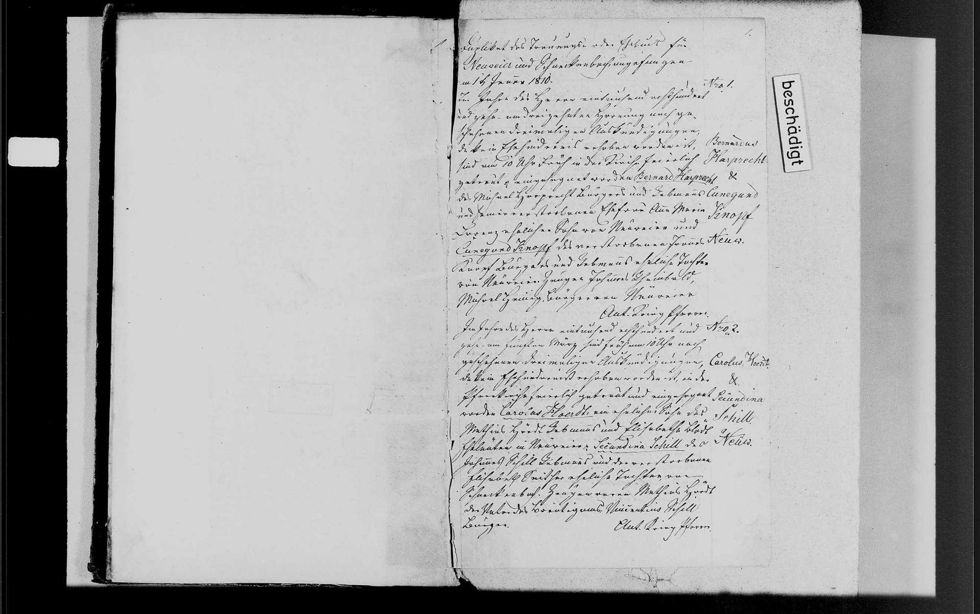 Neuweier, katholische Gemeinde: Heiratsbuch 1810-1870, Bild 3