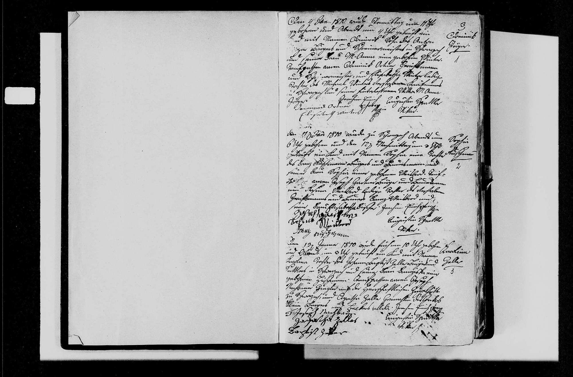 Schwarzach, evangelische, katholische und israelitische Gemeinde: Geburtenbuch 1810-1841, Bild 3