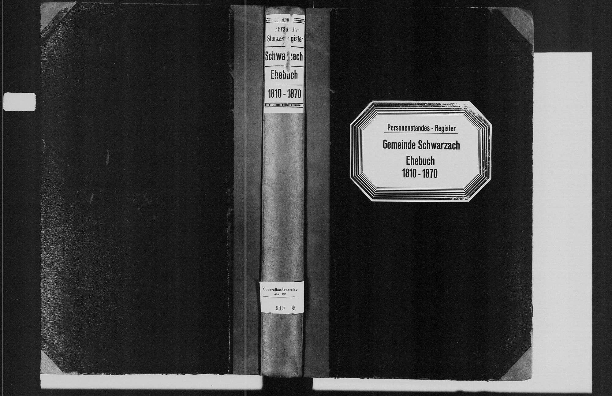 Schwarzach, evangelische, katholische und israelitische Gemeinde: Heiratsbuch 1810-1870, Bild 1