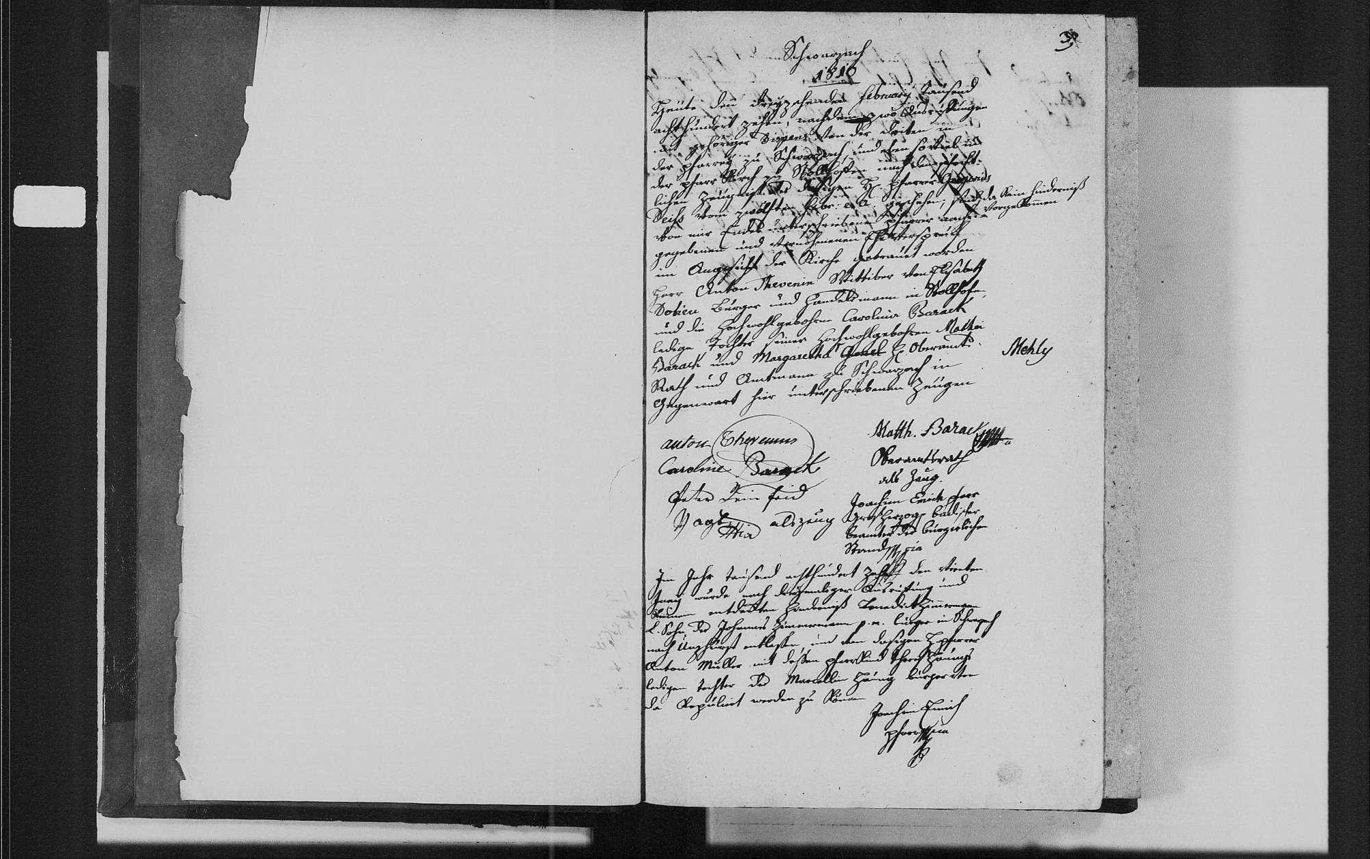 Schwarzach, evangelische, katholische und israelitische Gemeinde: Heiratsbuch 1810-1870, Bild 3