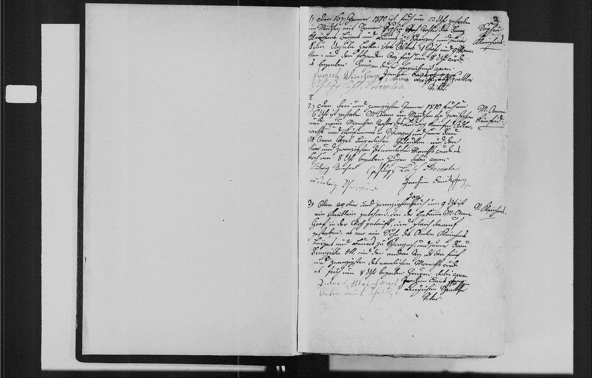 Schwarzach, evangelische, katholische und israelitische Gemeinde: Sterbebuch 1810-1870, Bild 3