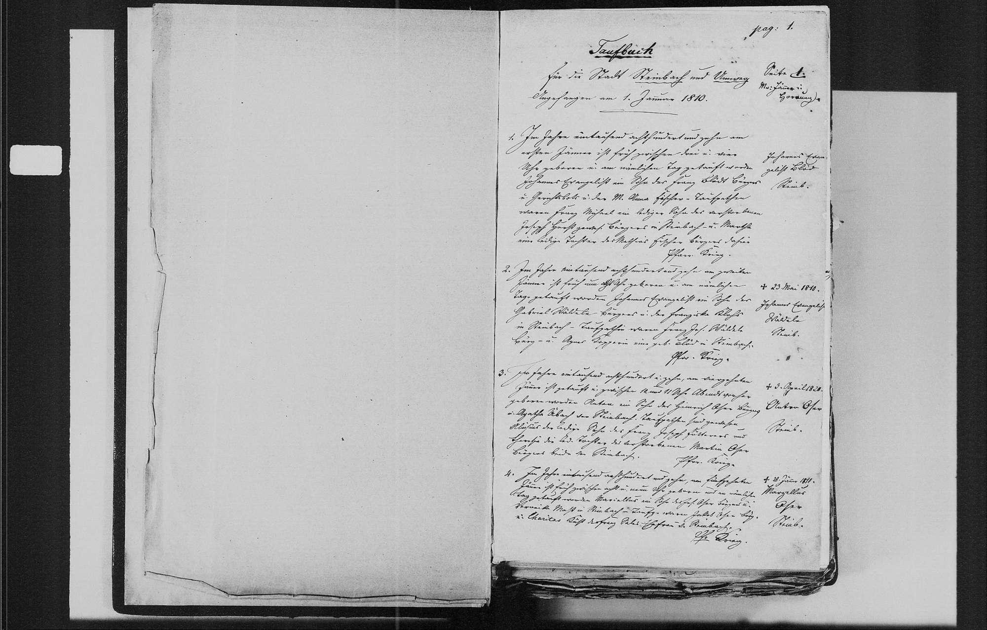 Steinbach, katholische Gemeinde: Geburtenbuch 1810-1840, Bild 3