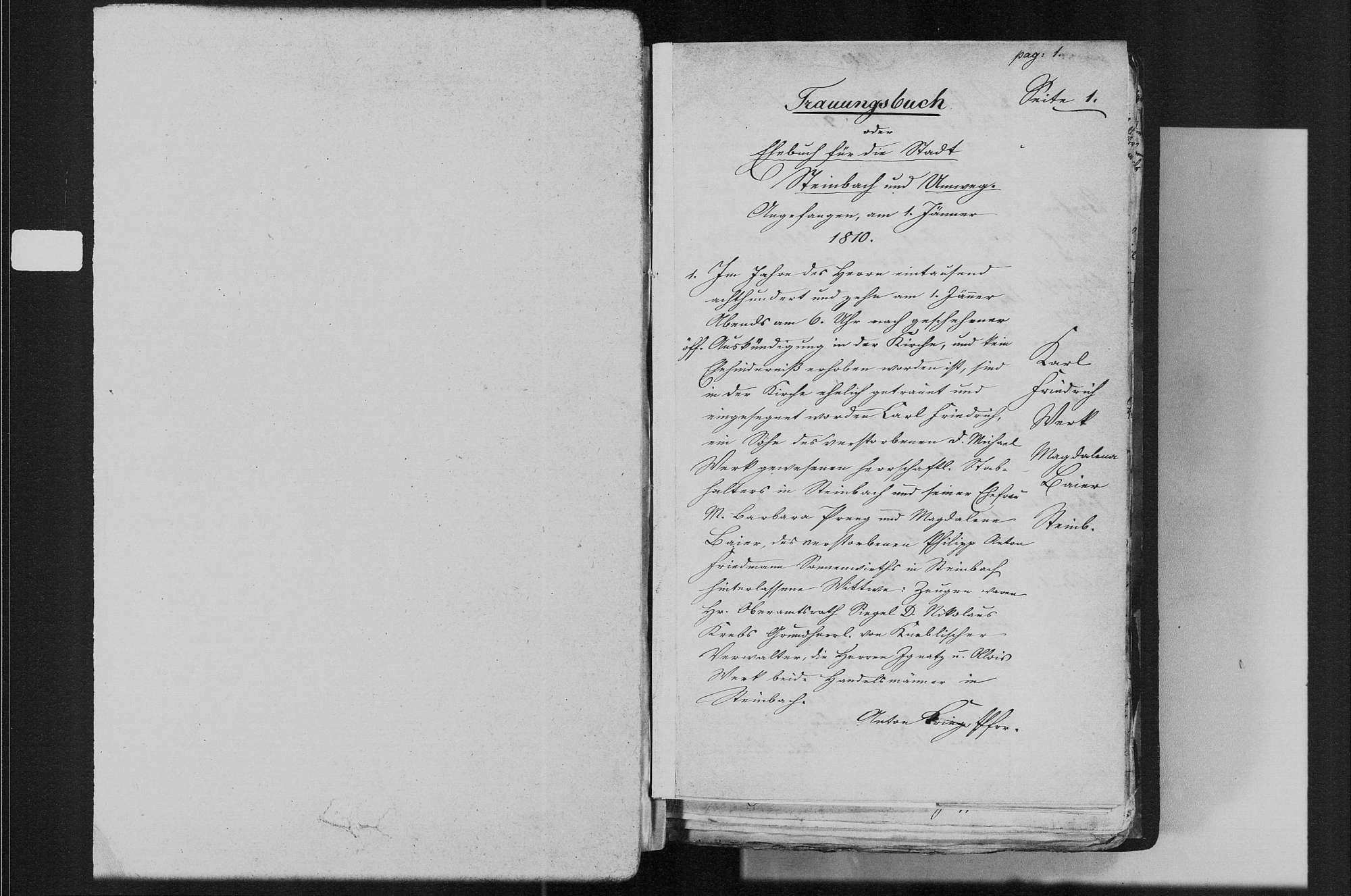 Steinbach, katholische Gemeinde: Heiratsbuch 1810-1870, Bild 3