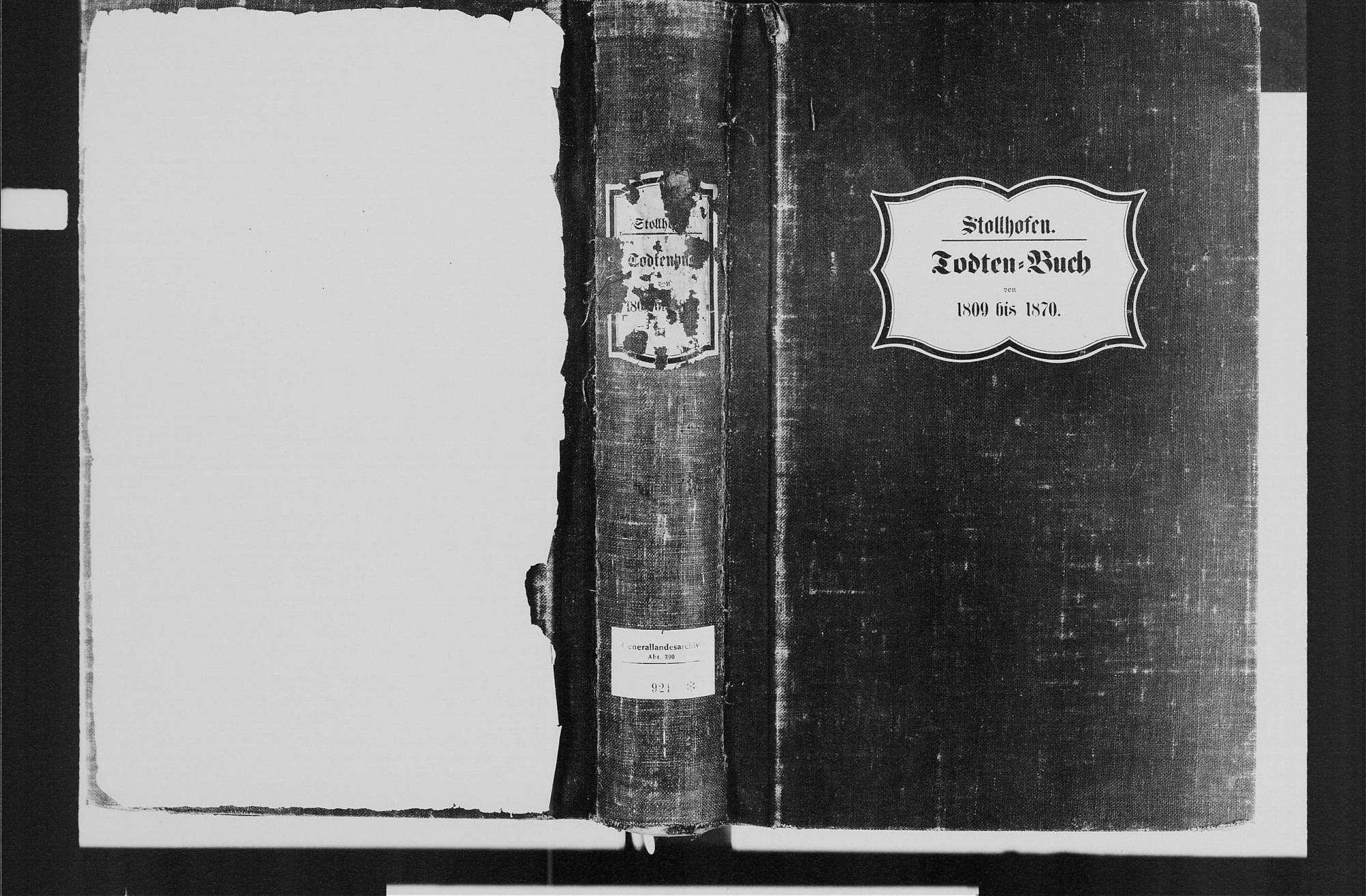 Stollhofen, katholische Gemeinde: Sterbebuch 1809-1870, Bild 1