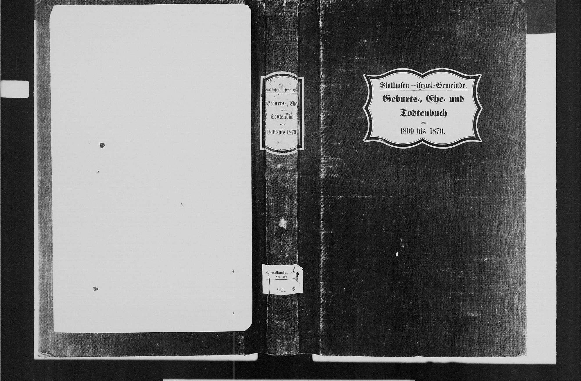 Stollhofen, israelitische Gemeinde: Standesbuch 1809-1870, Bild 1