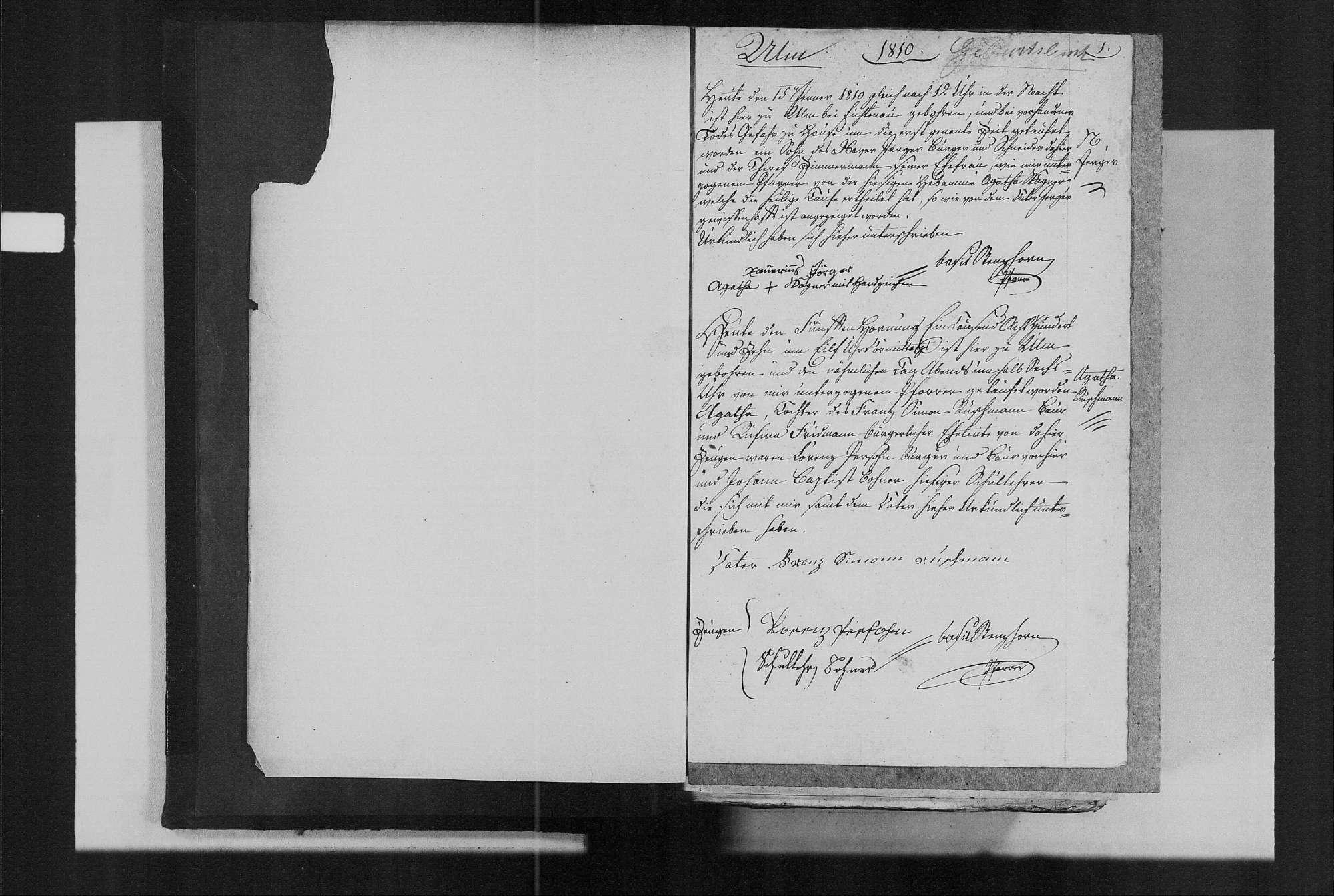 Ulm, katholische Gemeinde: Geburtenbuch 1810-1870, Bild 3