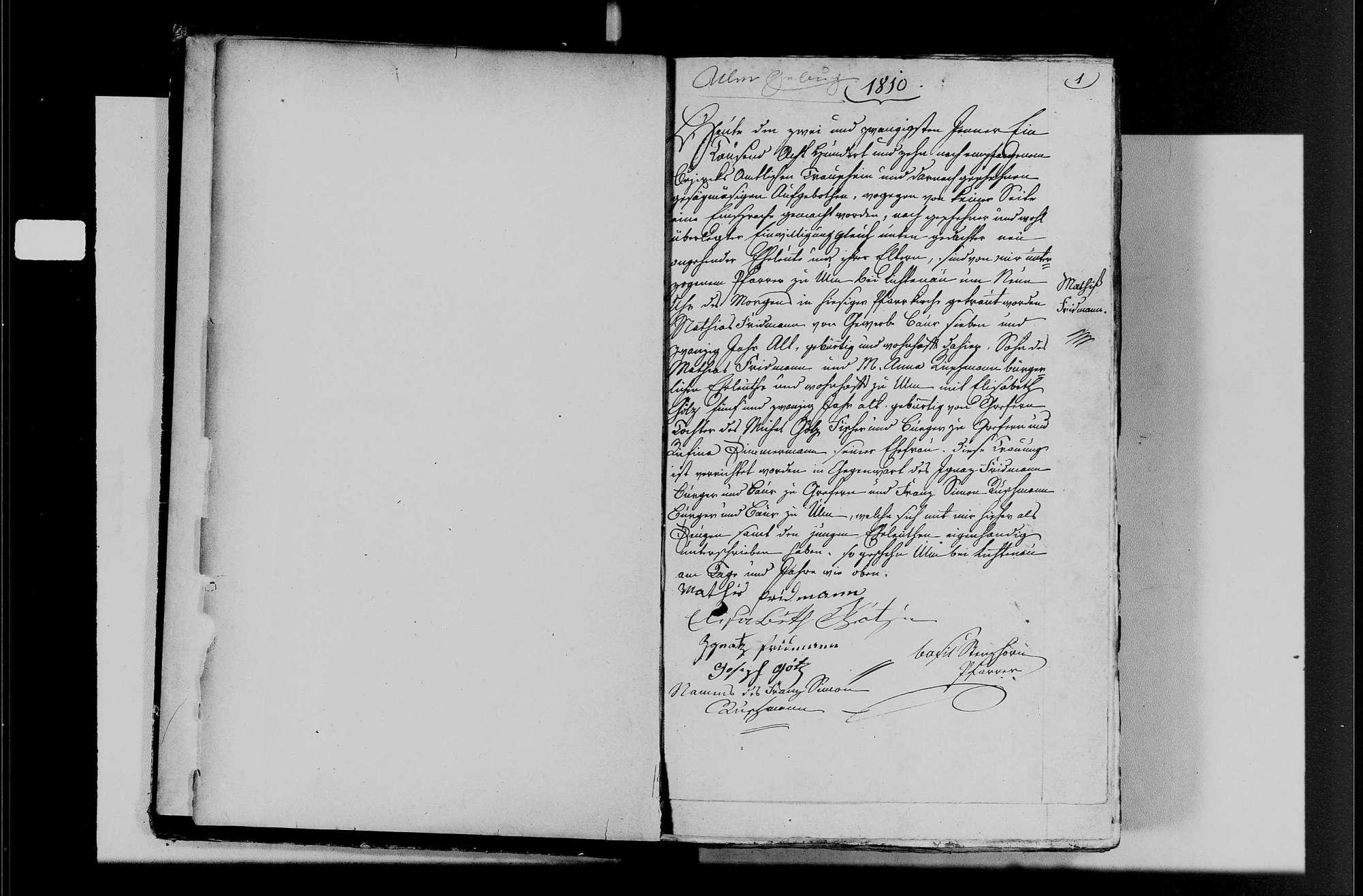 Ulm, katholische Gemeinde: Heiratsbuch 1810-1870, Bild 3