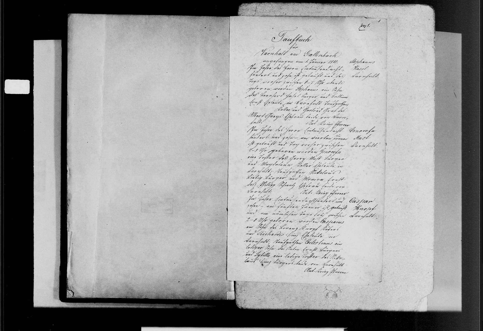 Varnhalt, katholische Gemeinde: Geburtenbuch 1810-1870, Bild 3