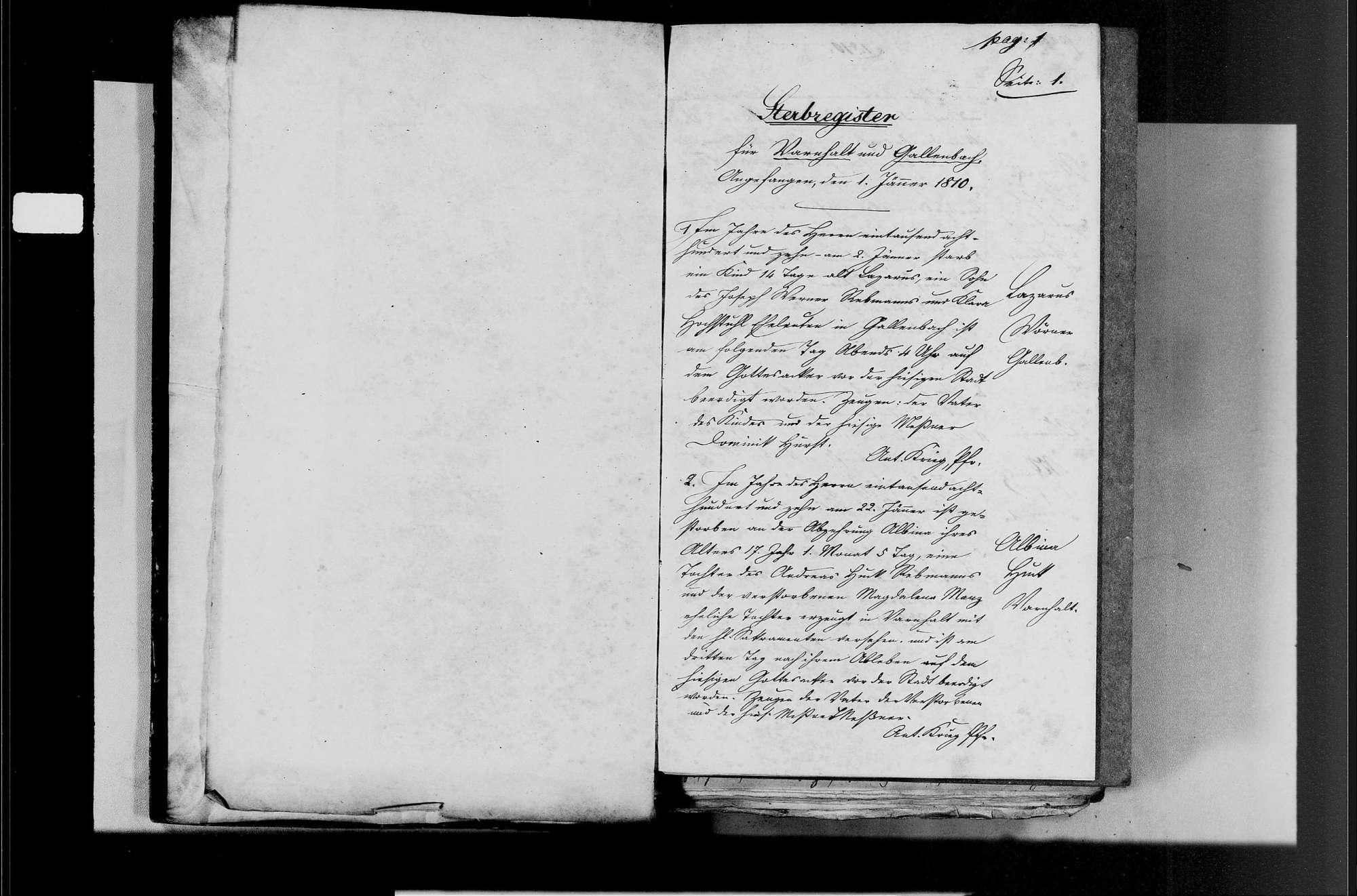 Varnhalt, katholische Gemeinde: Sterbebuch 1810-1870, Bild 3
