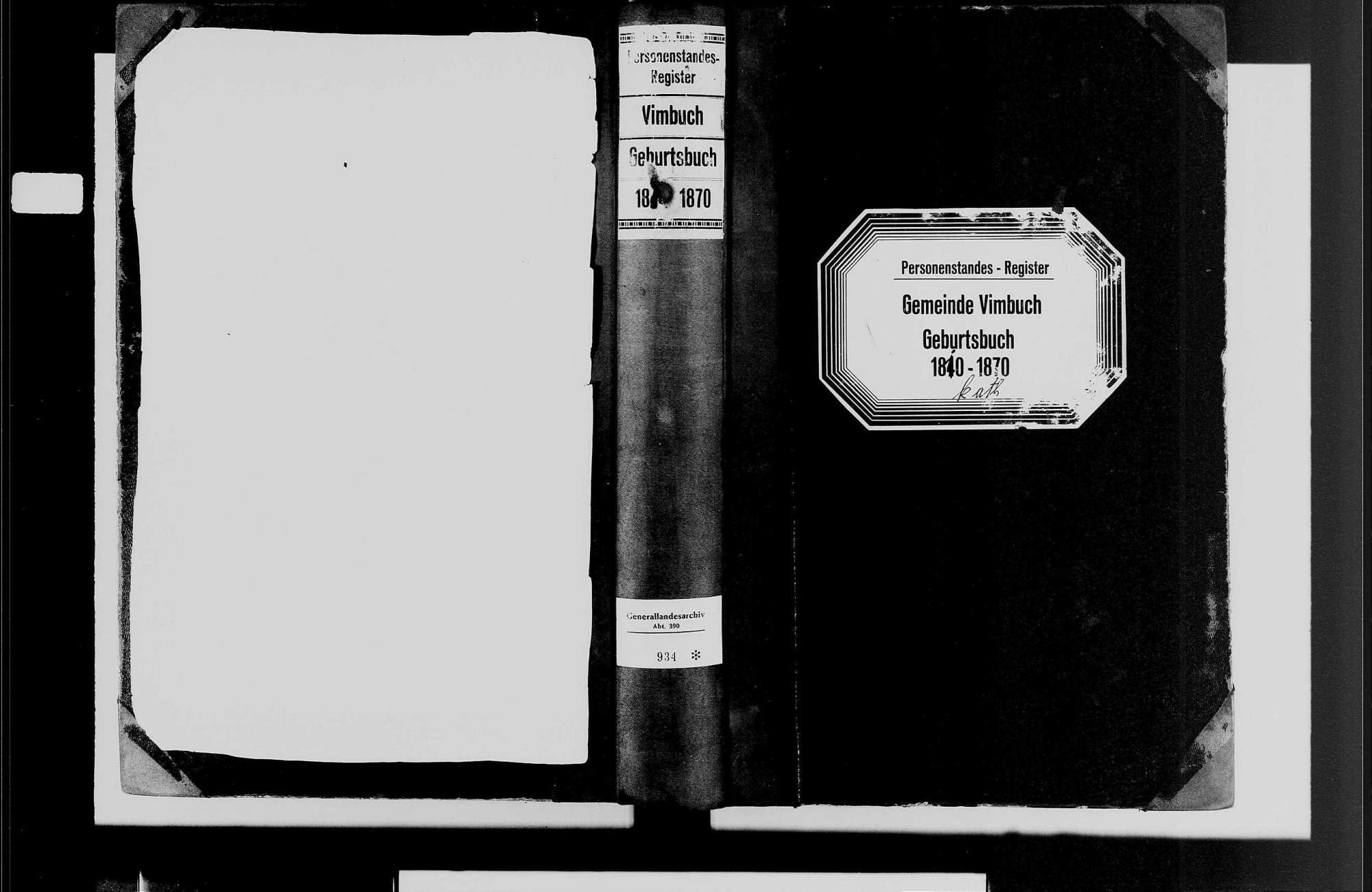 Vimbuch, katholische Gemeinde: Geburtenbuch 1810-1870, Bild 1
