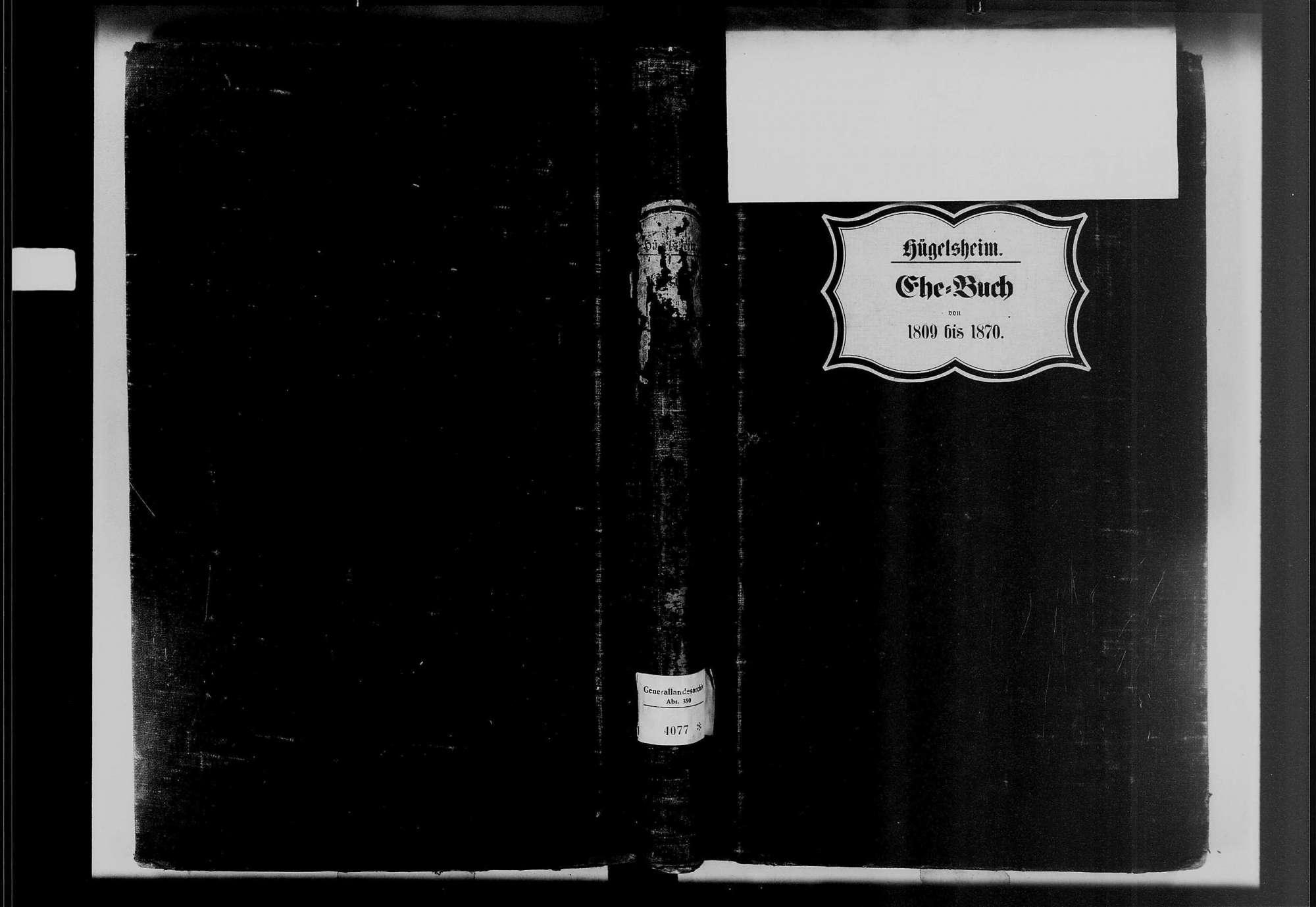 Hügelsheim, katholische Gemeinde: Heiratsbuch 1809-1869, Bild 1