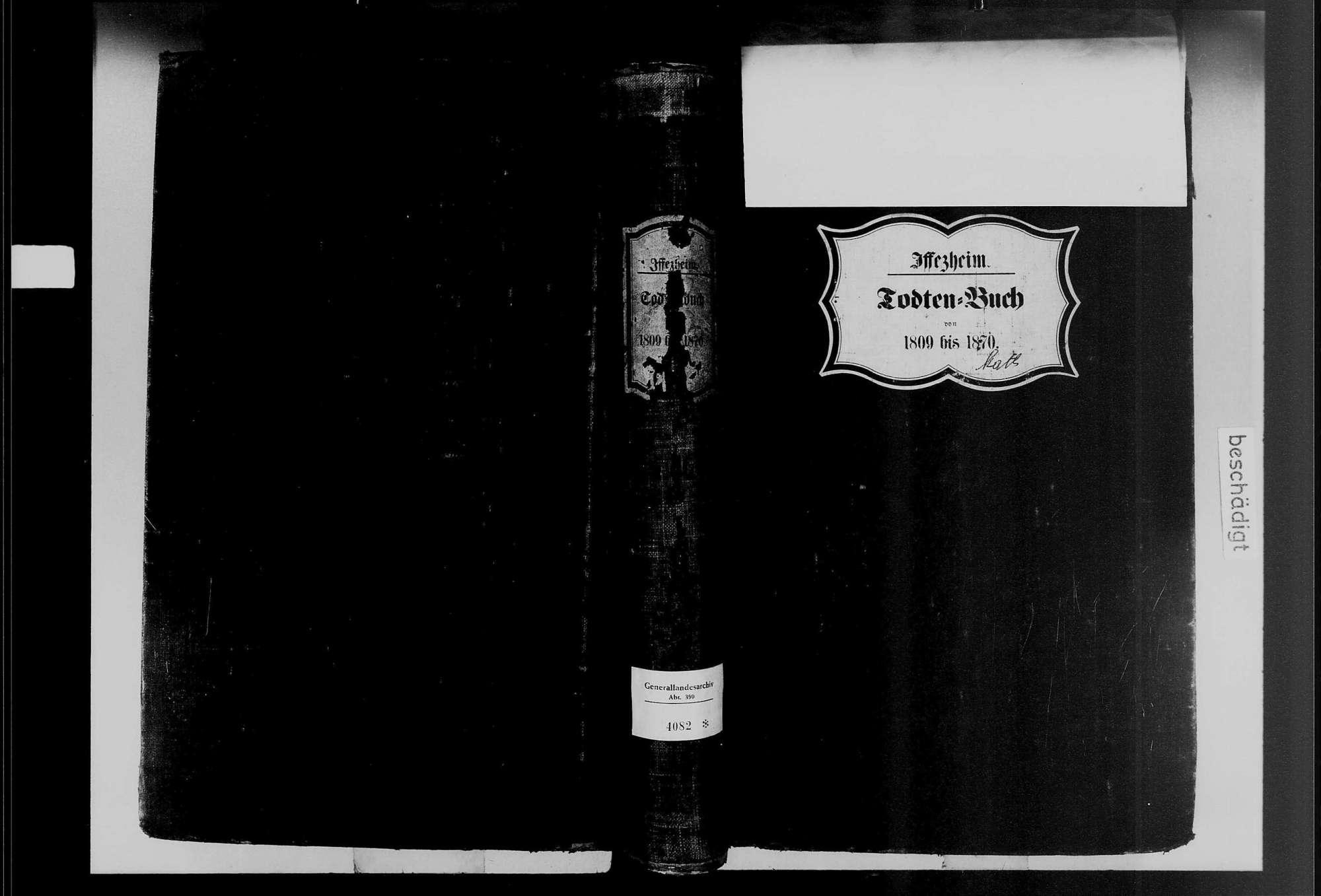 Iffezheim, katholische Gemeinde: Sterbebuch 1809-1870, Bild 1